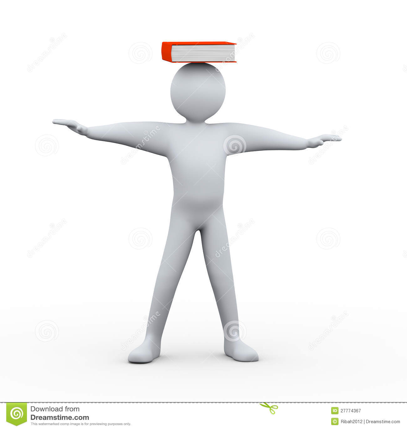 Homme 3d avec le livre sur la tête
