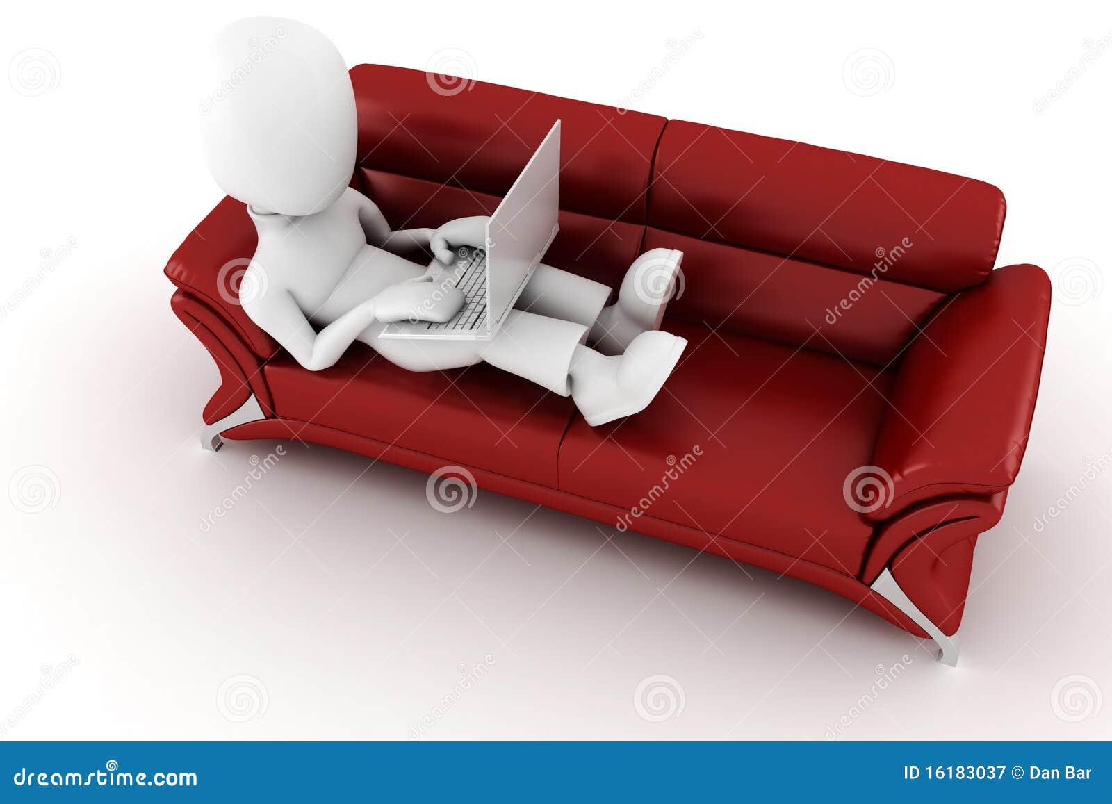 Homme 3d dans un sofa rouge, fonctionnant à l ordinateur portatif de hes