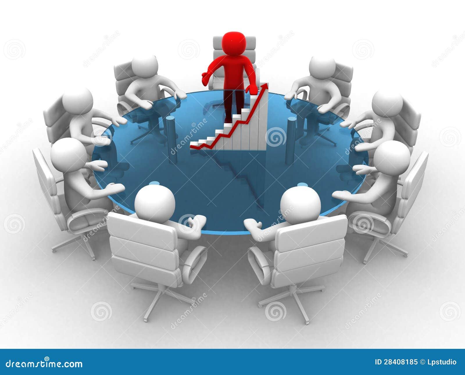 Homme 3d s 39 asseyant une table ronde et ayant la r union - Table de reunion design ...