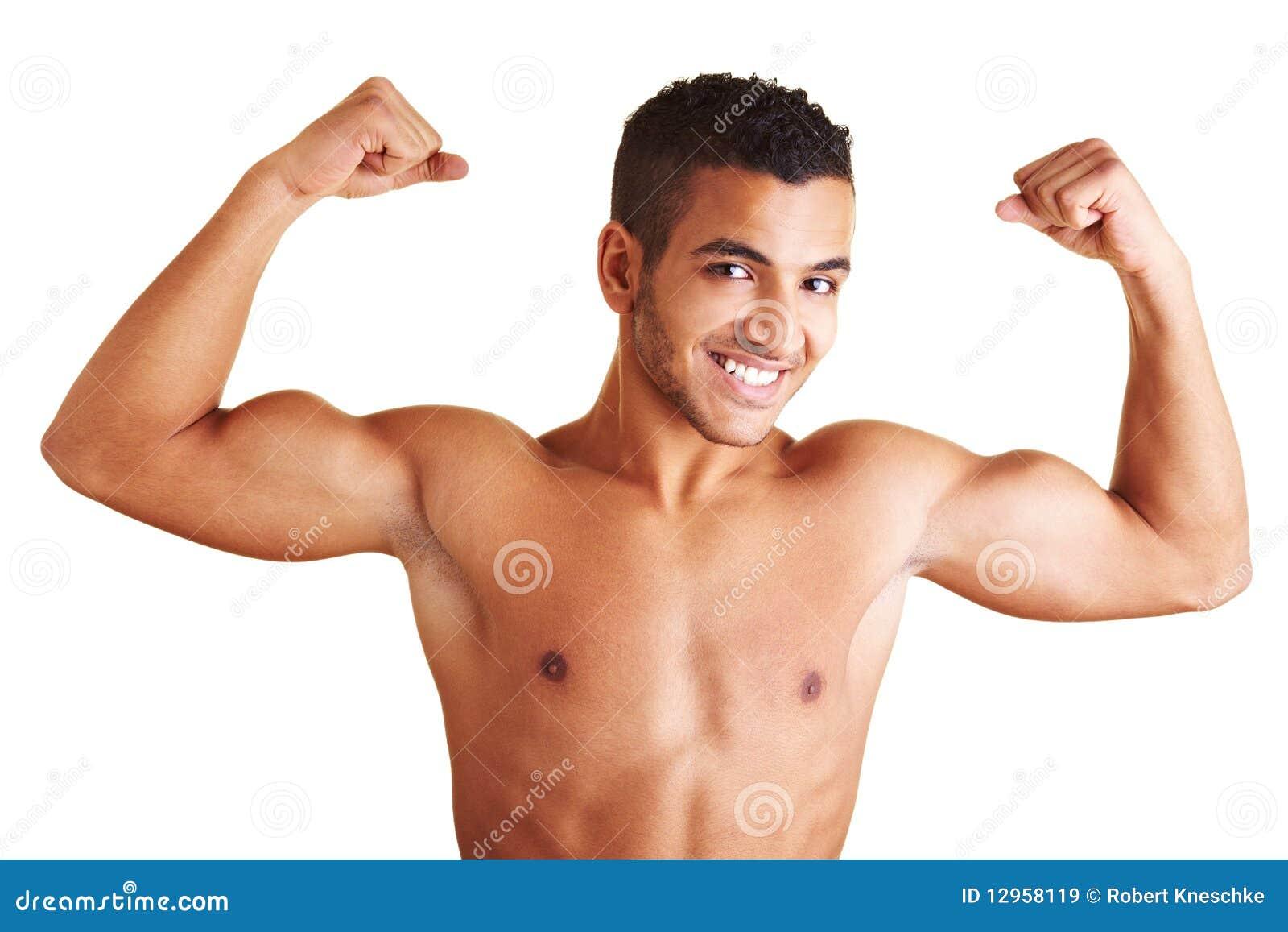 Homme affichant les deux muscles de bras images libres de droits image 12958119 - Bras tatoue homme ...