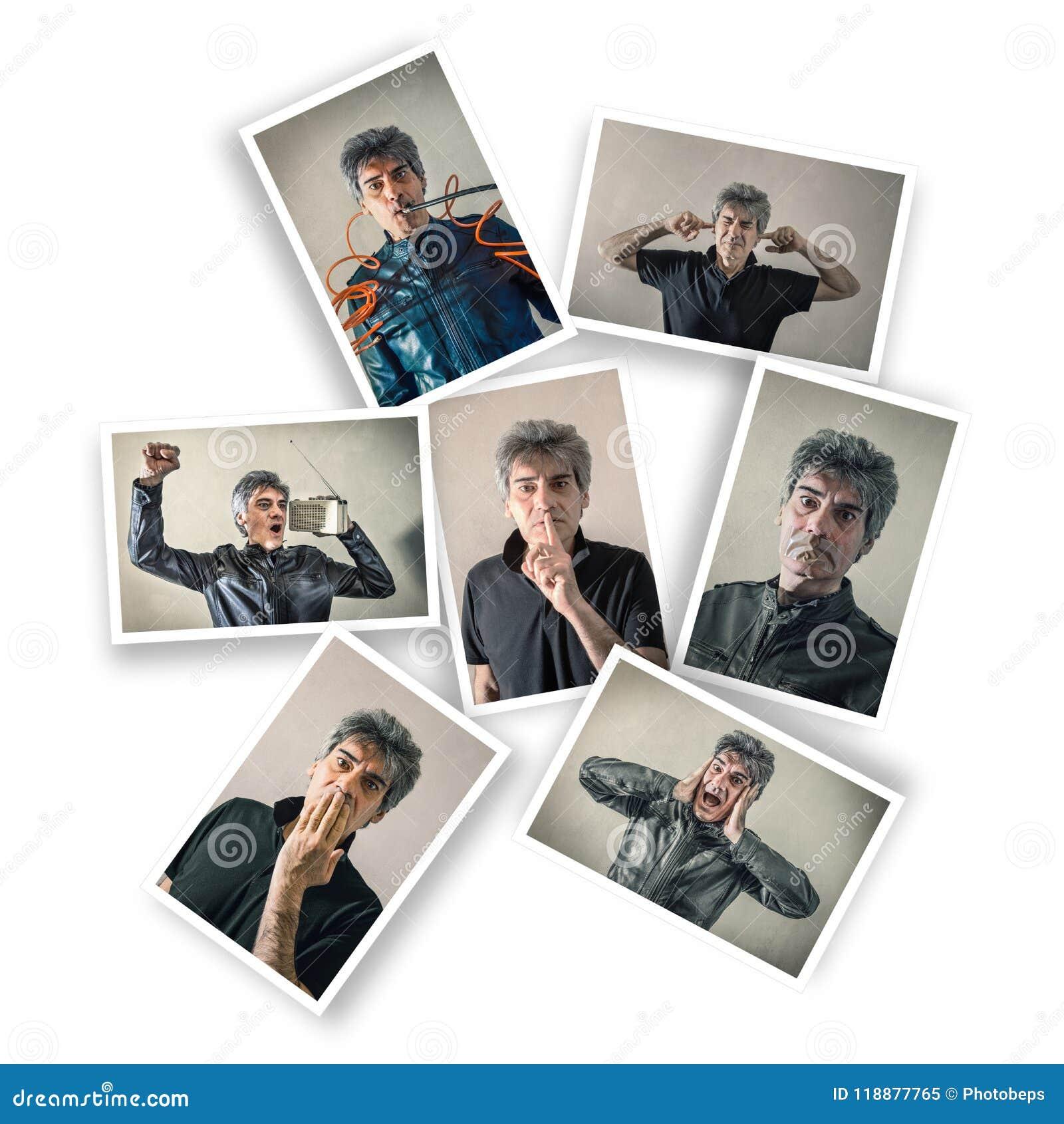 Homme avec des expressions multiples