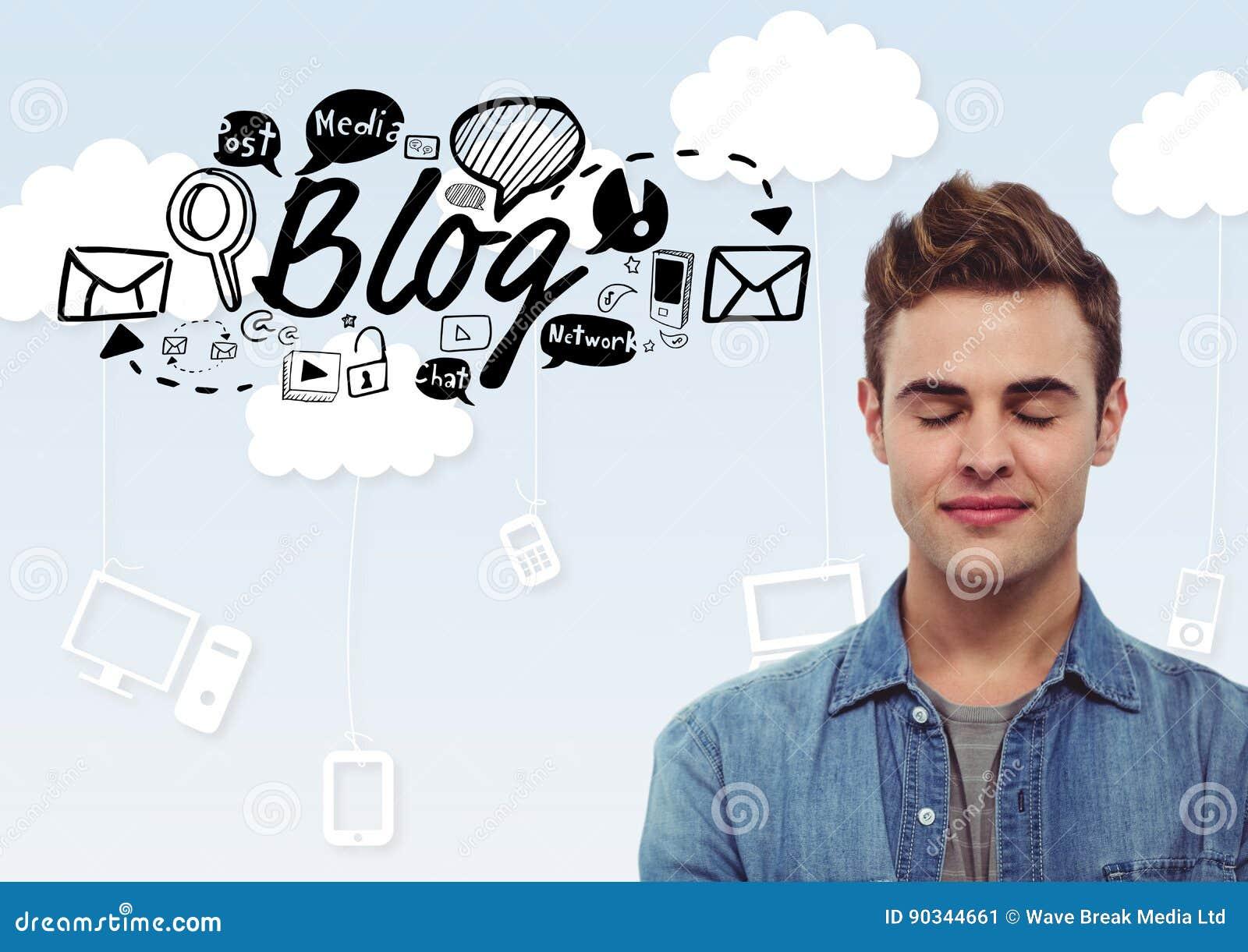 Homme Avec Des Yeux Fermes Et Texte De Blog Avec Des Graphiques De