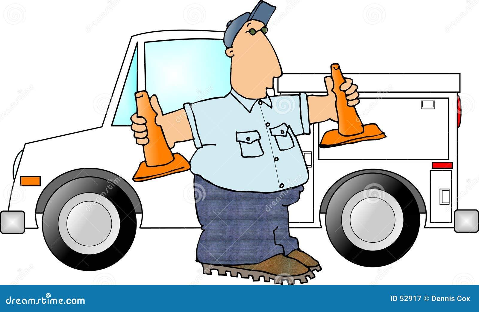 Download Homme Avec Deux Cônes De Sécurité Illustration Stock - Illustration du orange, camion: 52917