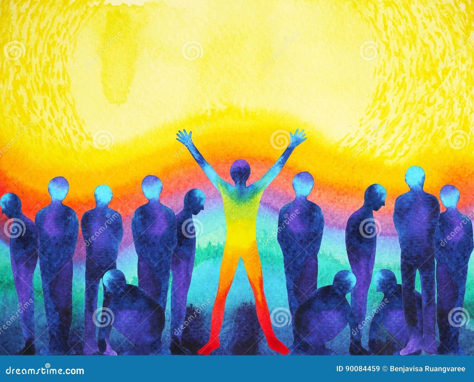 Homme avec l aquarelle légère positive de puissance et d univers peignant l illustration abstraite