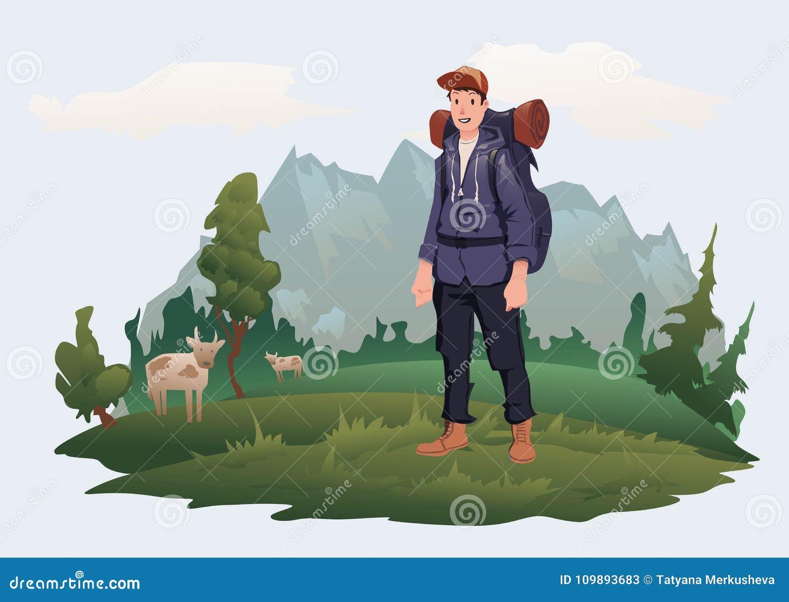 Homme avec le sac à dos sur le fond du paysage de montagne Tourisme de montagne, augmentant, récréation extérieure active