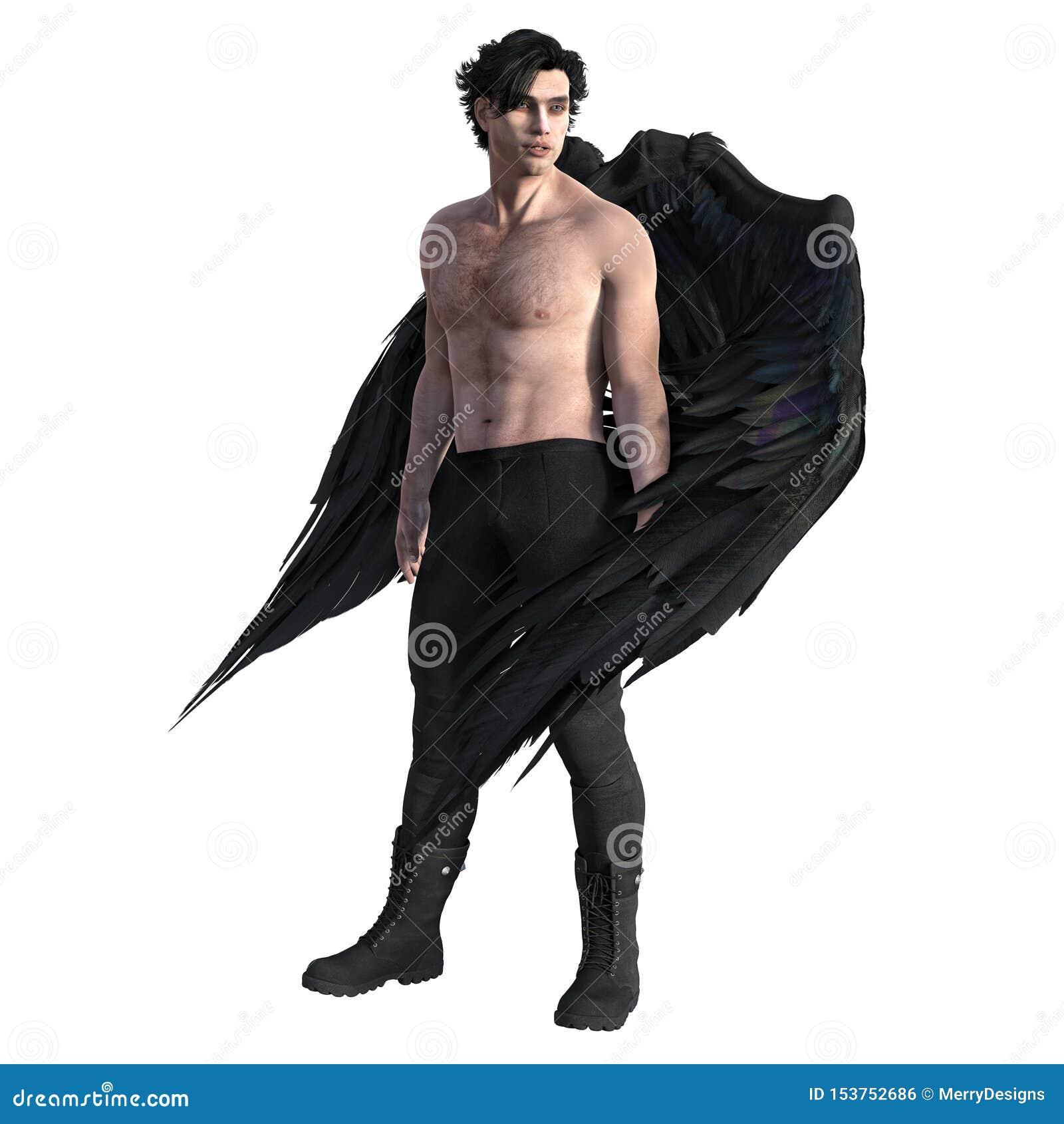 Homme bel comme ange foncé avec les ailes noires