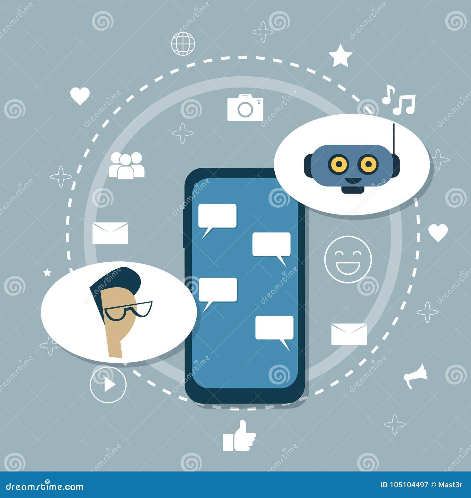 Homme causant avec l appui mobile de robot moderne de Chatbot de Bot de broutement