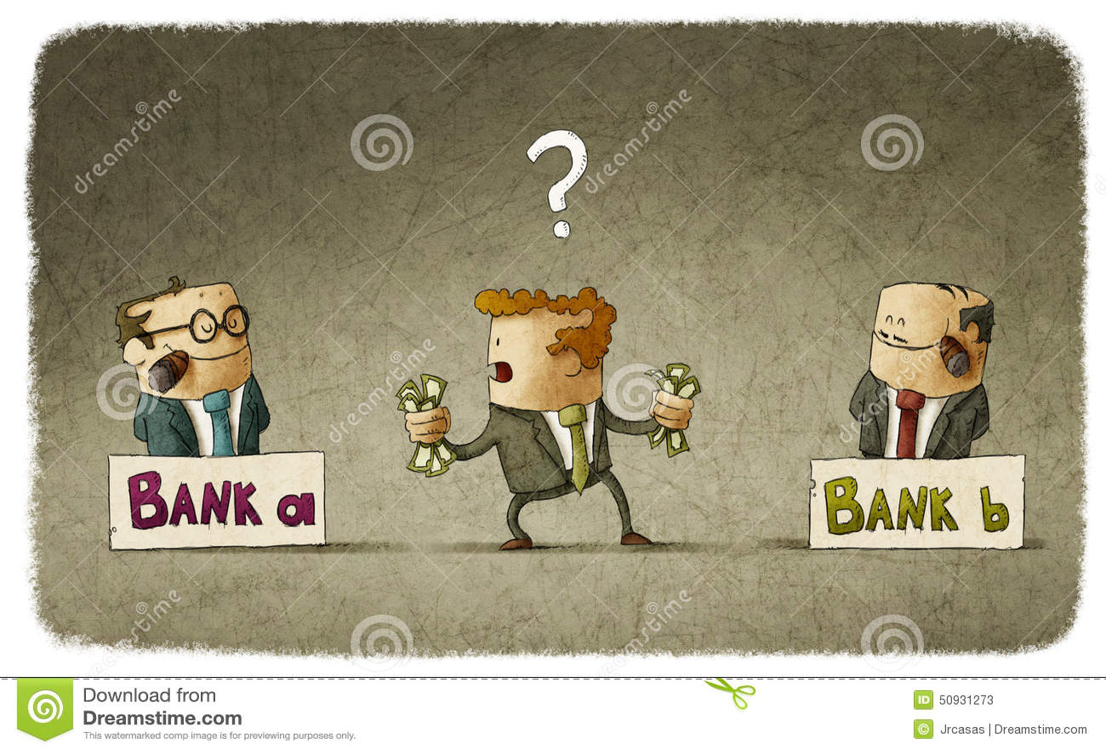 Homme choisissant le banquier