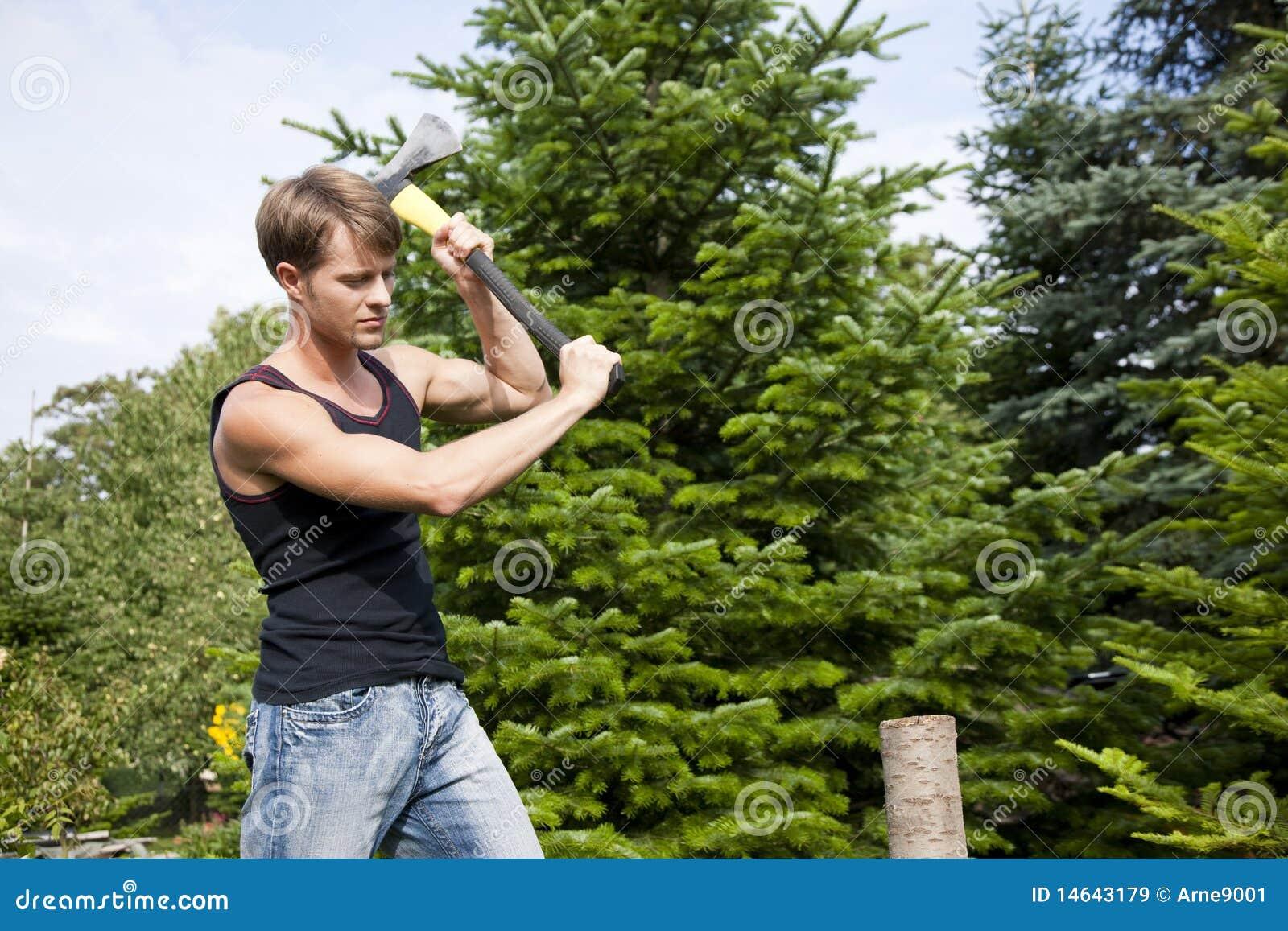 Homme coupant le bois dans son jardin images libres de for Trouver de l or dans son jardin