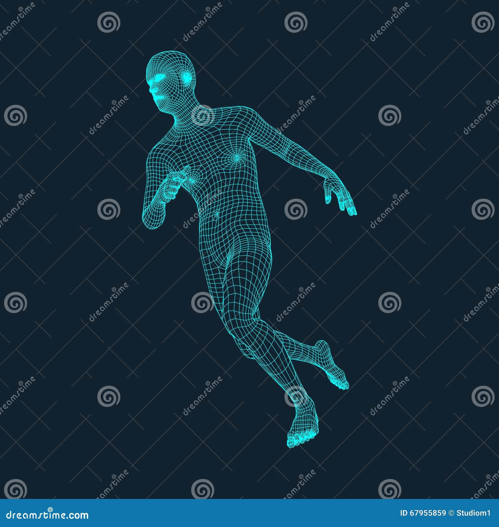 Homme courant Conception polygonale modèle 3D de l homme Dessin géométrique Affaires, illustration de vecteur de la science et te