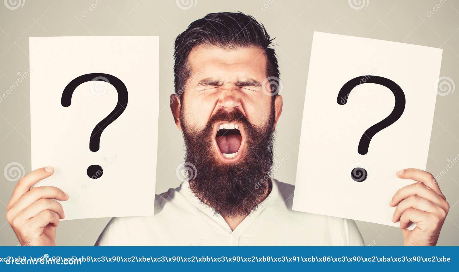 Homme criant, ?motion Question d homme M?le avec le cri per?ant d ?motion, points d interrogation Homme criard Obtention des r?po