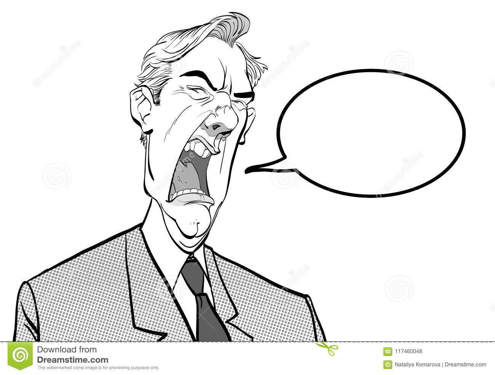 Homme criard Bossage fâché Politicien contrarié Homme fâché Homme de fureur