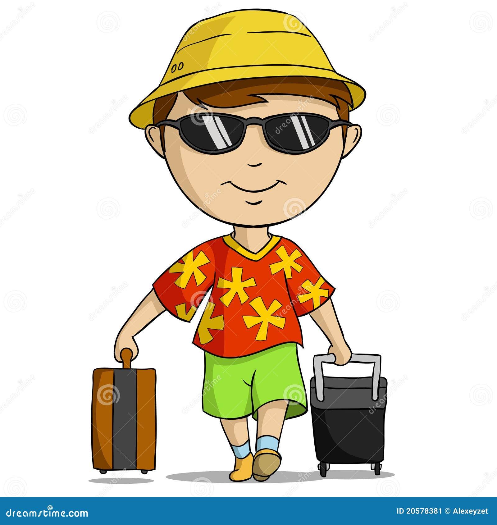 Homme d 39 quipement de vacances de dessin anim avec le sac - Voyageur dessin ...