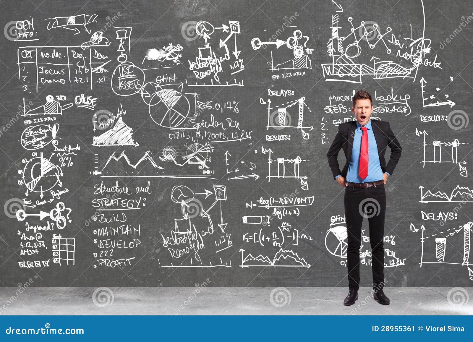 Homme d affaires écrivant les concepts d écriture