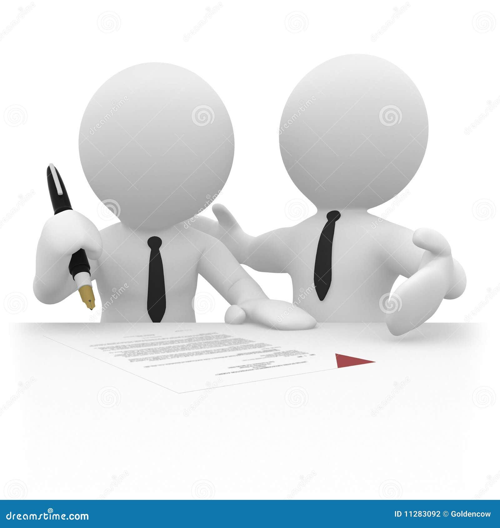 Homme d affaires 3D signant un contrat