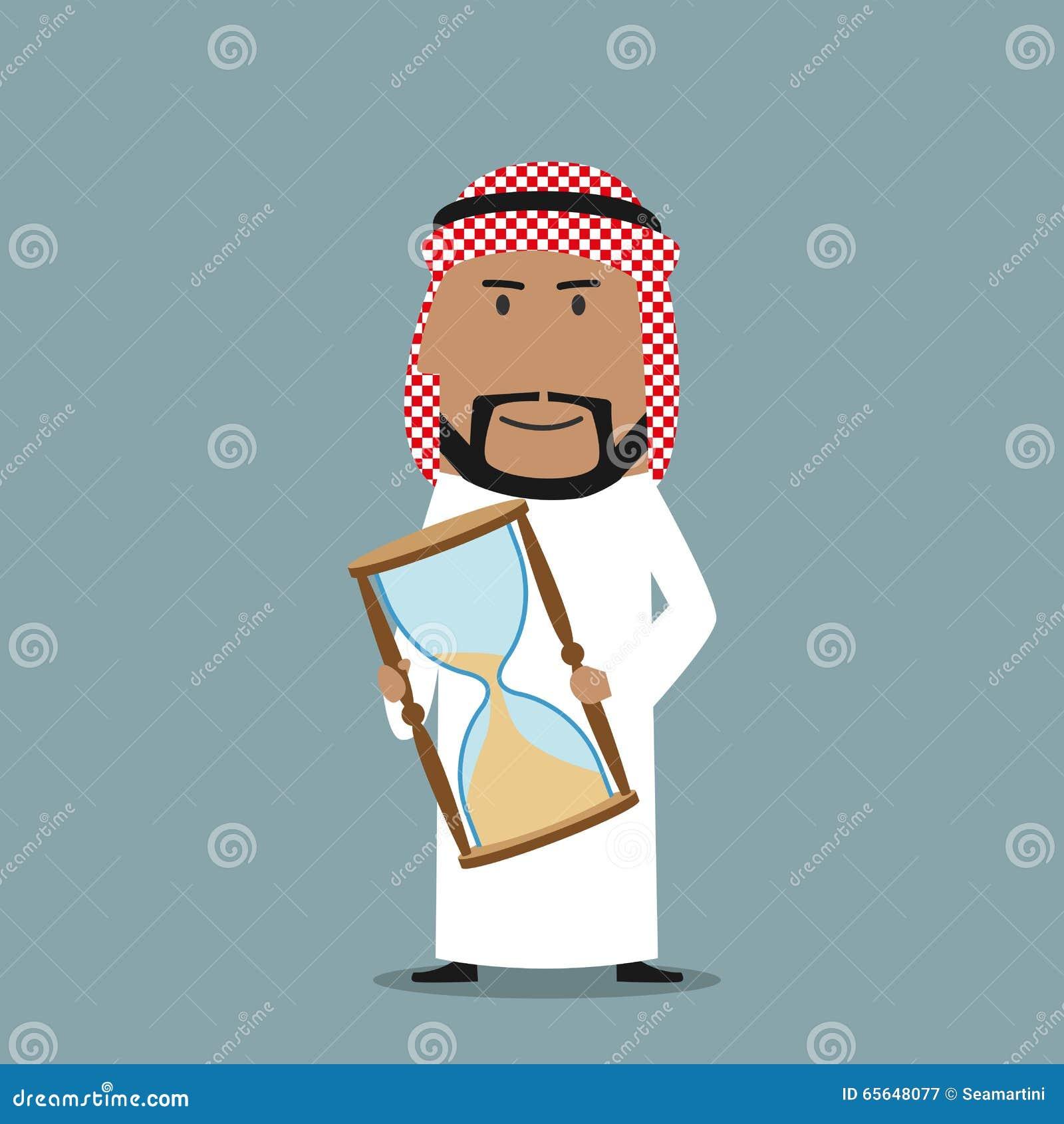 Homme d affaires Arabe avec de temps le sablier