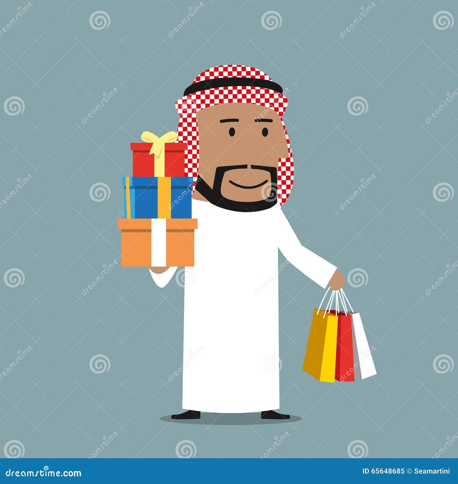 Homme d affaires Arabe avec des paniers et des cadeaux