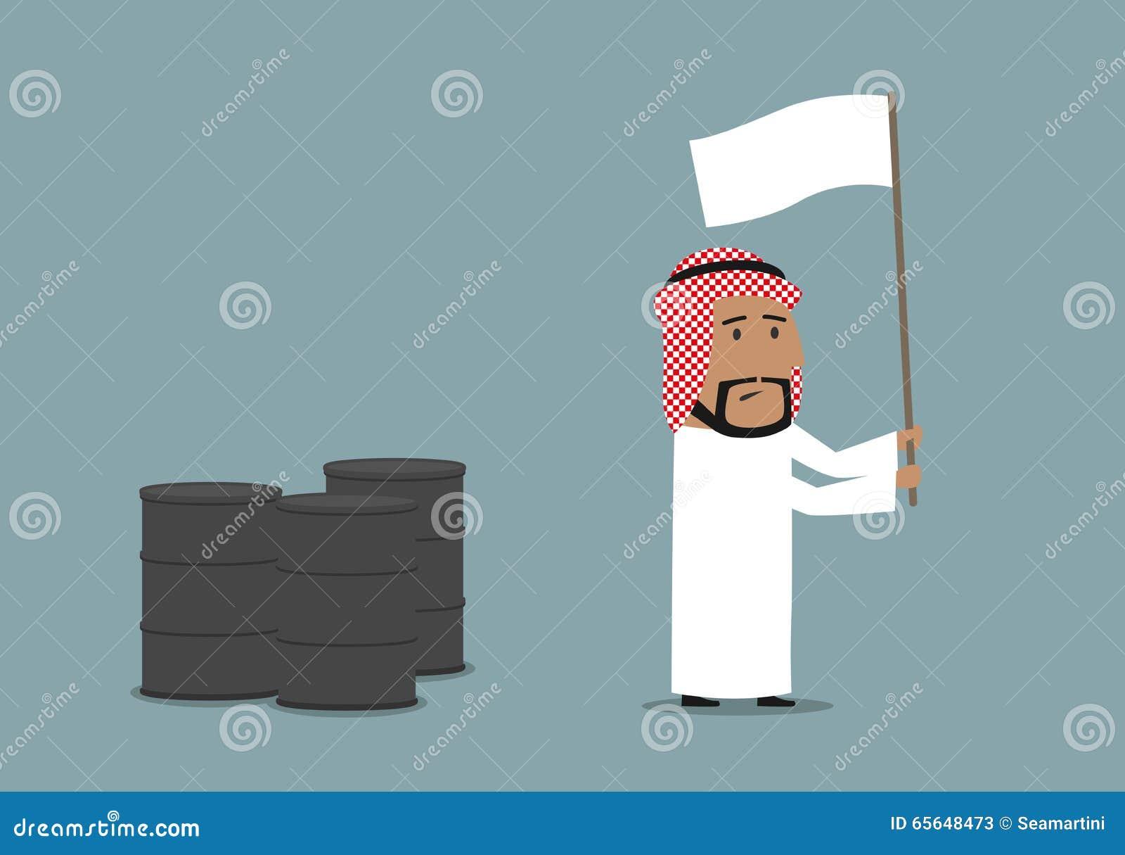 Homme d affaires Arabe capitulant avec le drapeau blanc