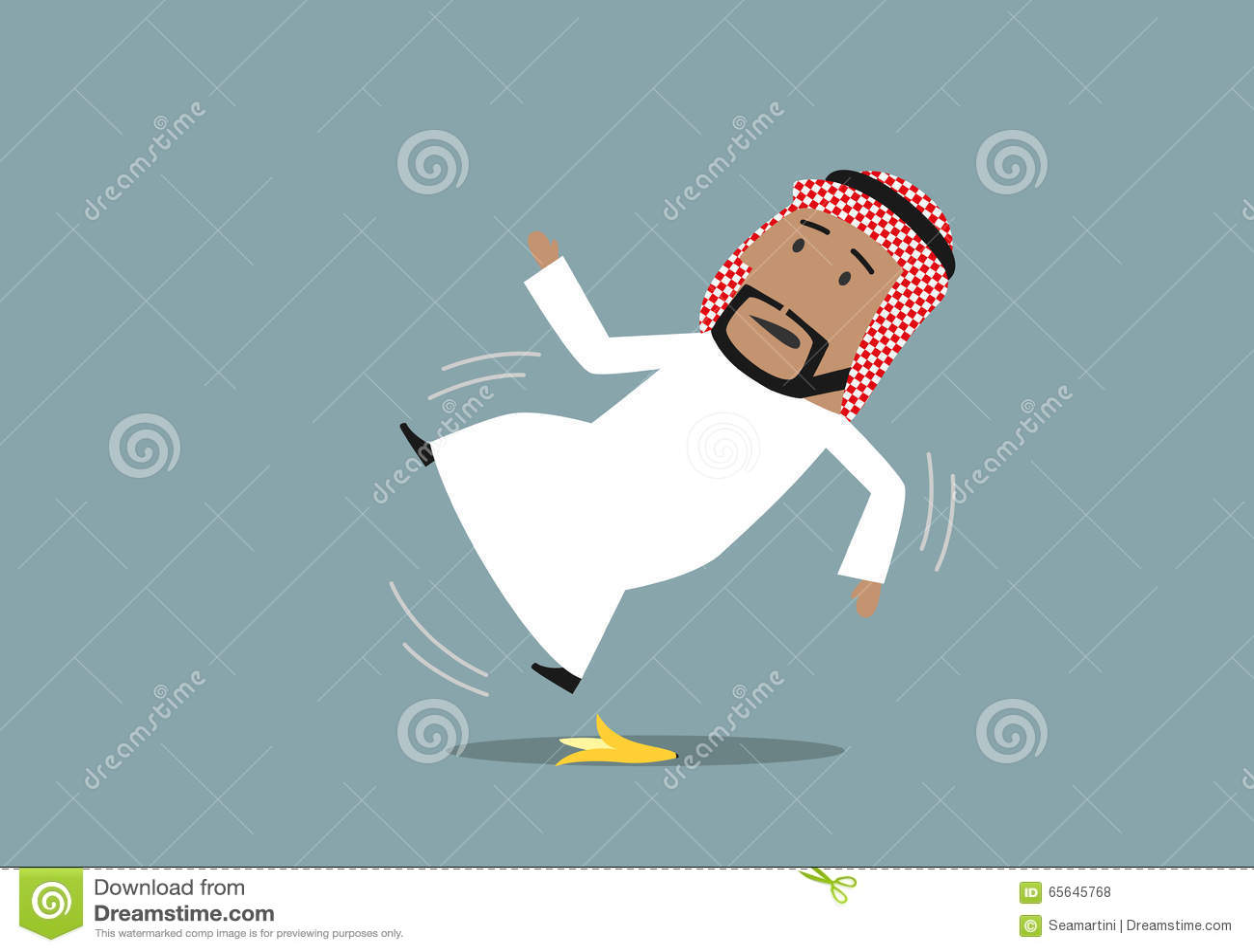 Homme d affaires Arabe glissé sur une peau de banane