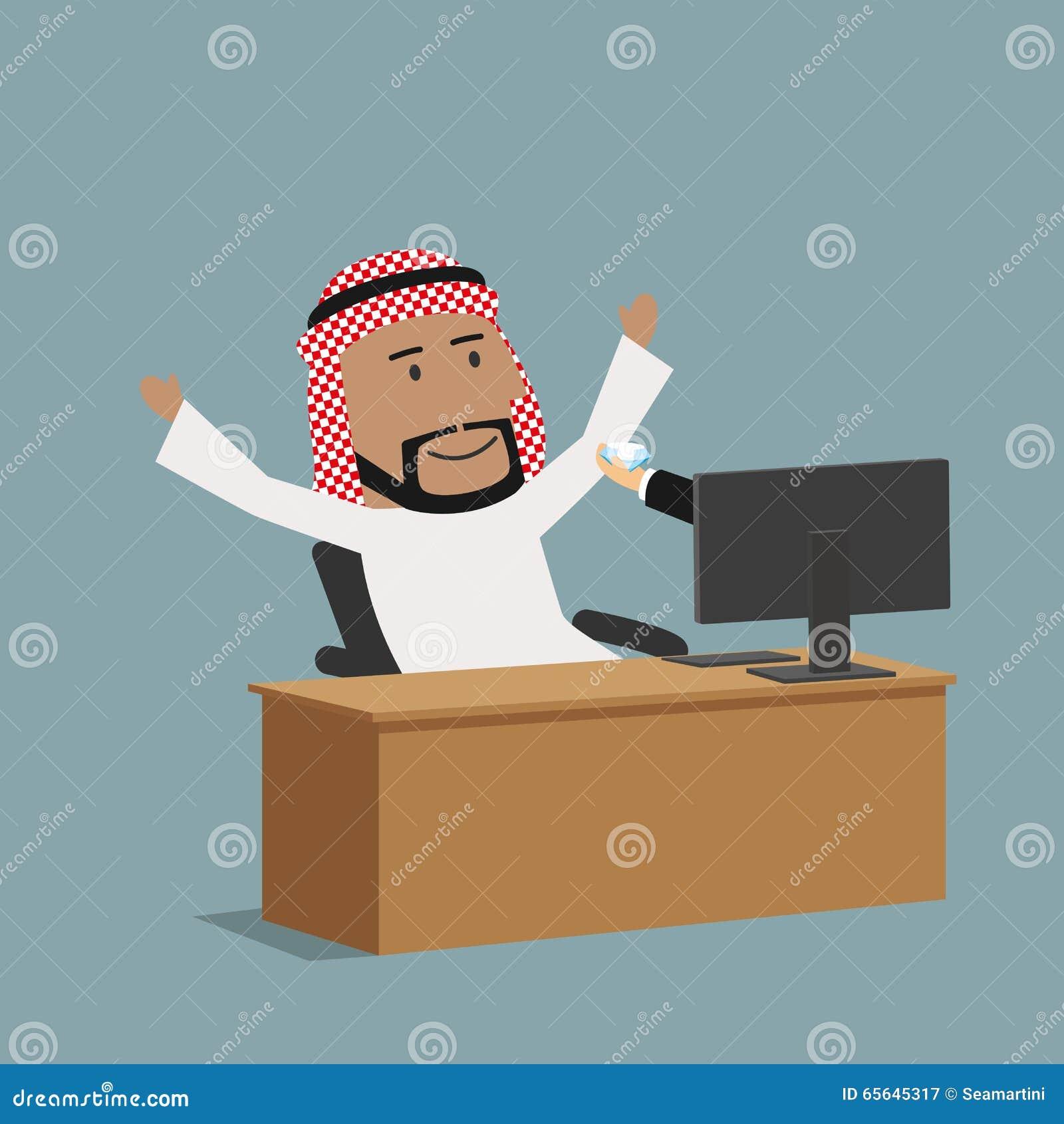Homme d affaires Arabe recevant un diamant