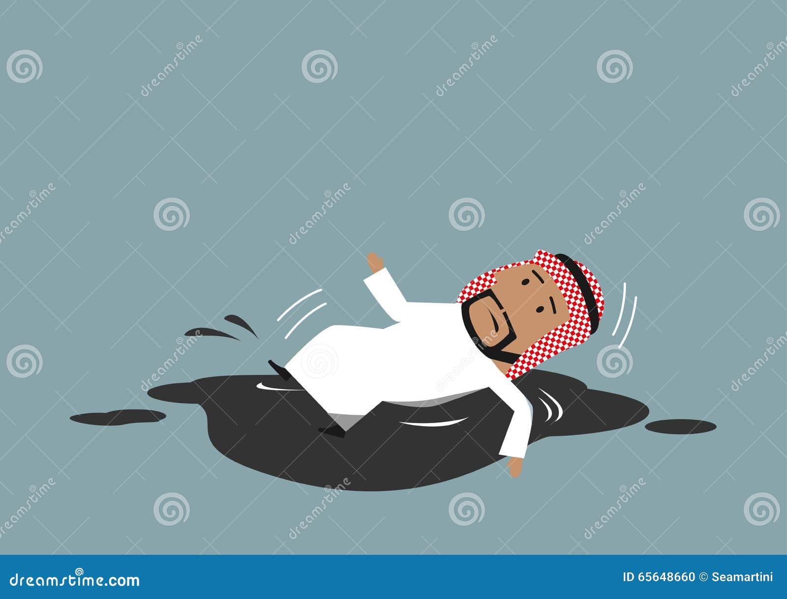Homme d affaires Arabe tombant dans le magma de pétrole brut