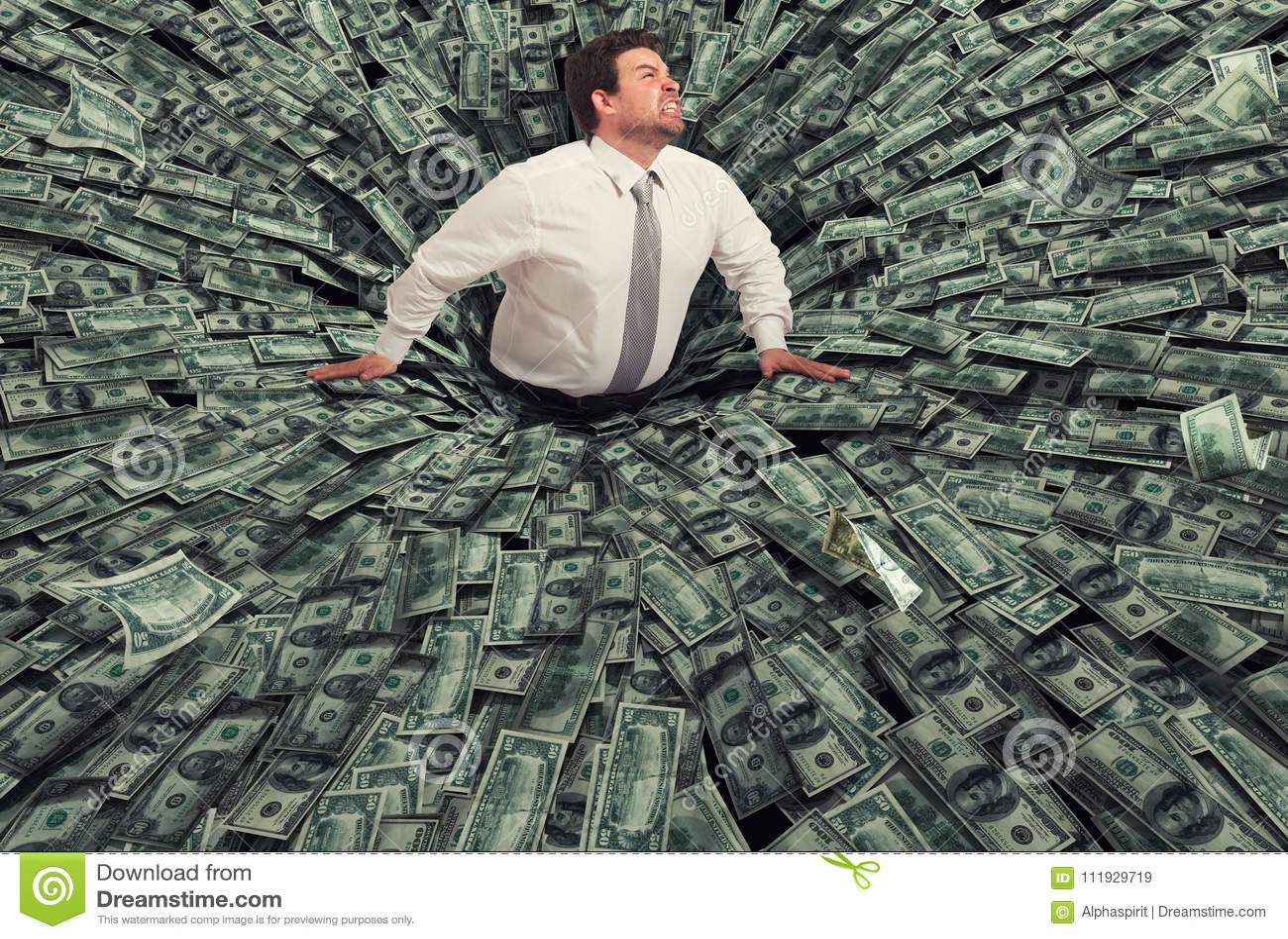 Homme d affaires avalé par un trou noir d argent Concept d échec et de crise économique