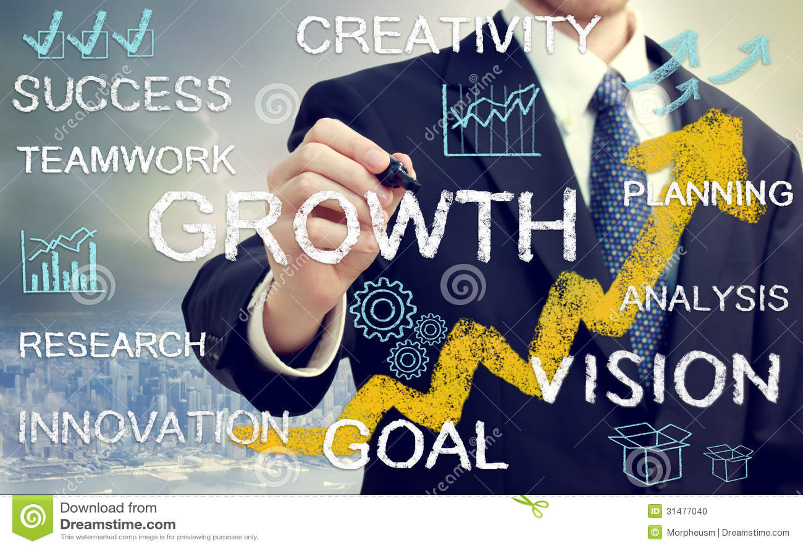 Homme d affaires avec des concepts représentant la croissance, et succès