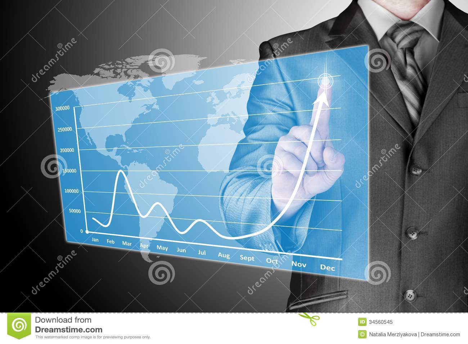 Homme d affaires avec des symboles financiers