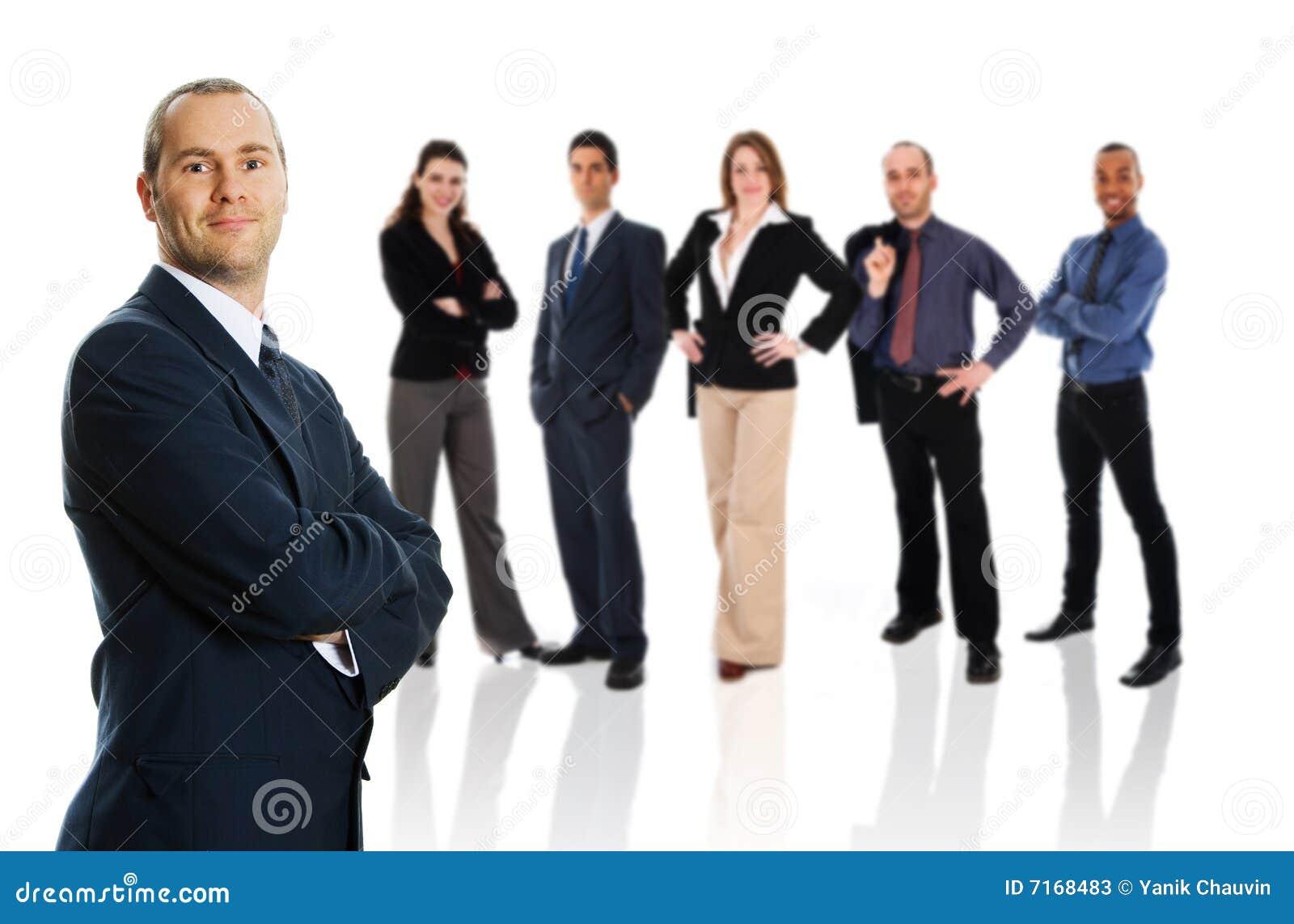 Homme d affaires avec l équipe