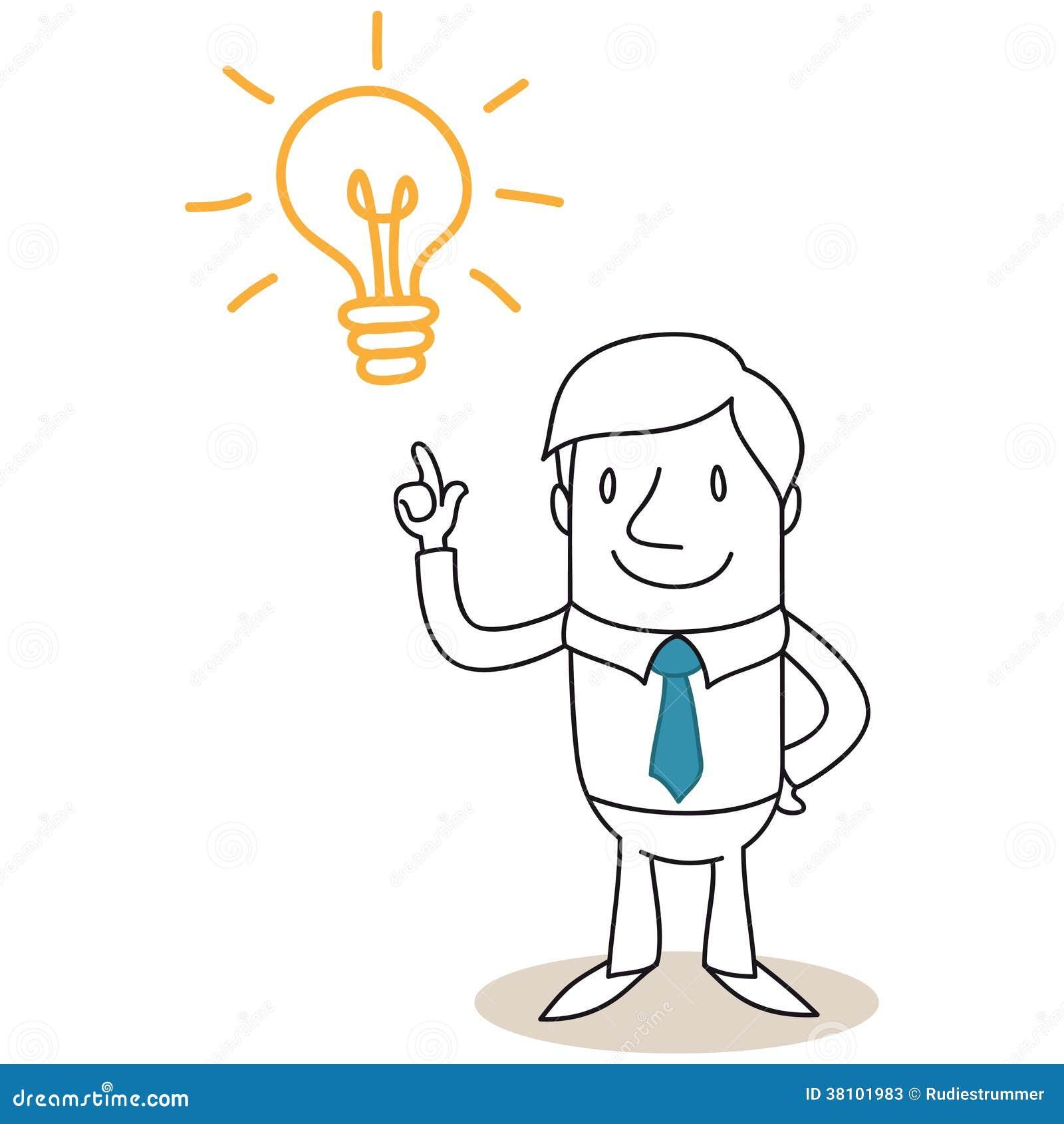 Homme D'affaires Avec L'ampoule Ayant L'idée Illustration de