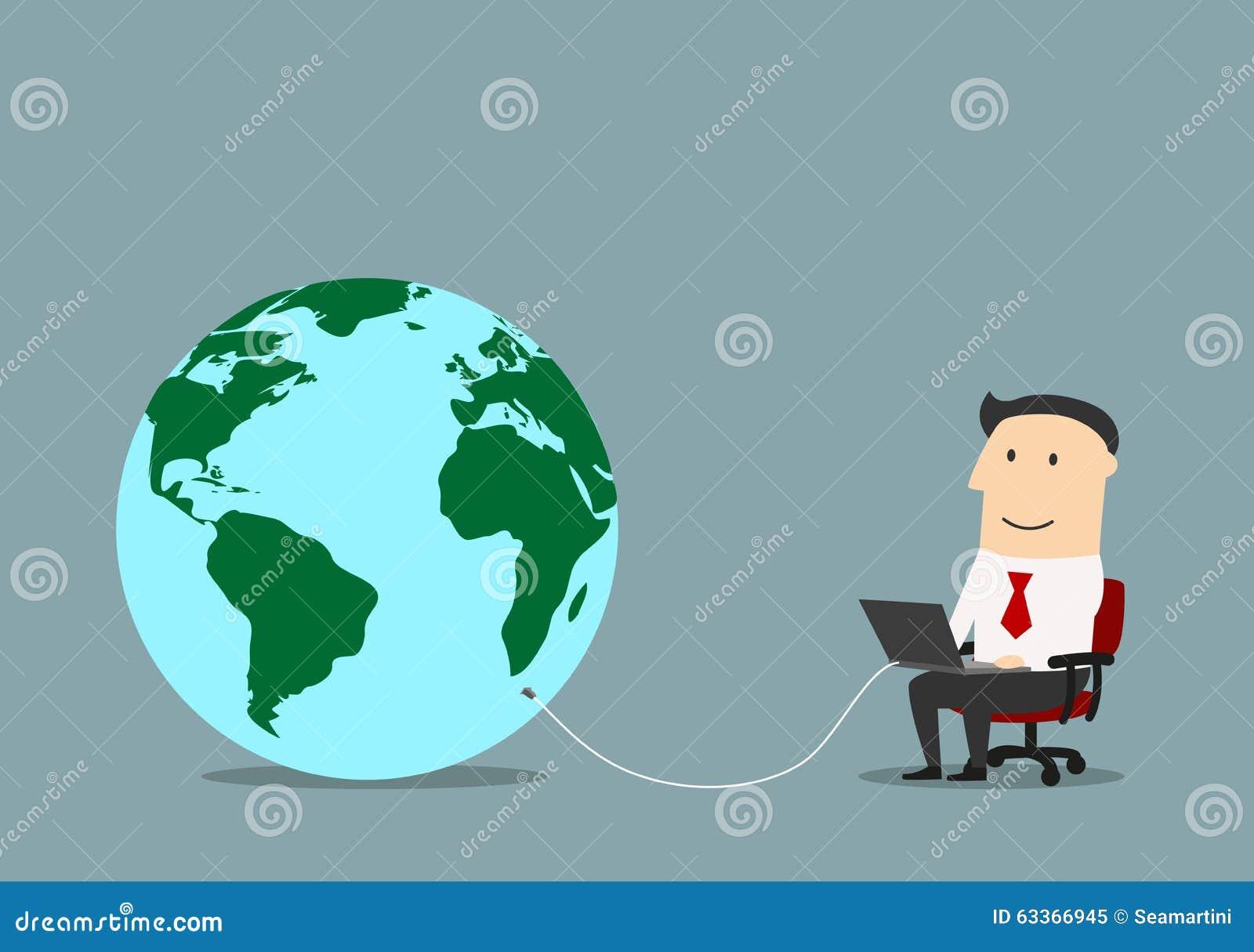 Homme d affaires avec l ordinateur portable relié à un globe