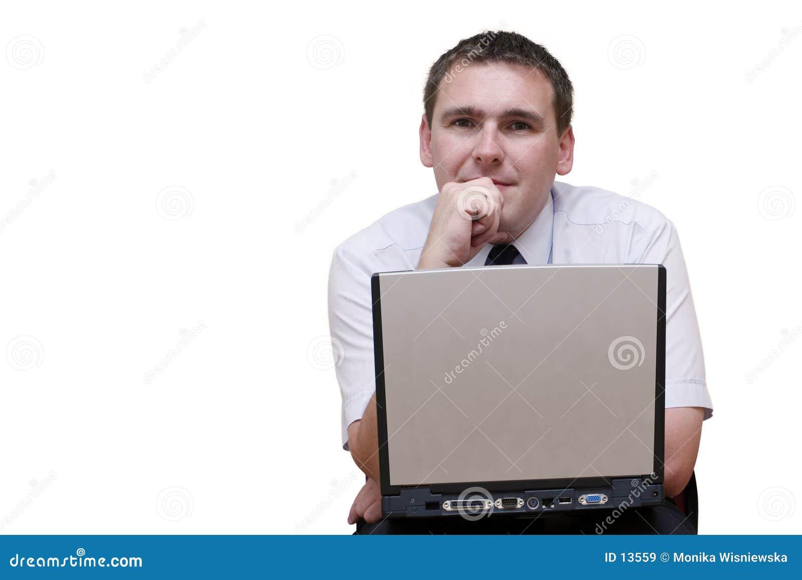 Homme d affaires avec l ordinateur portatif
