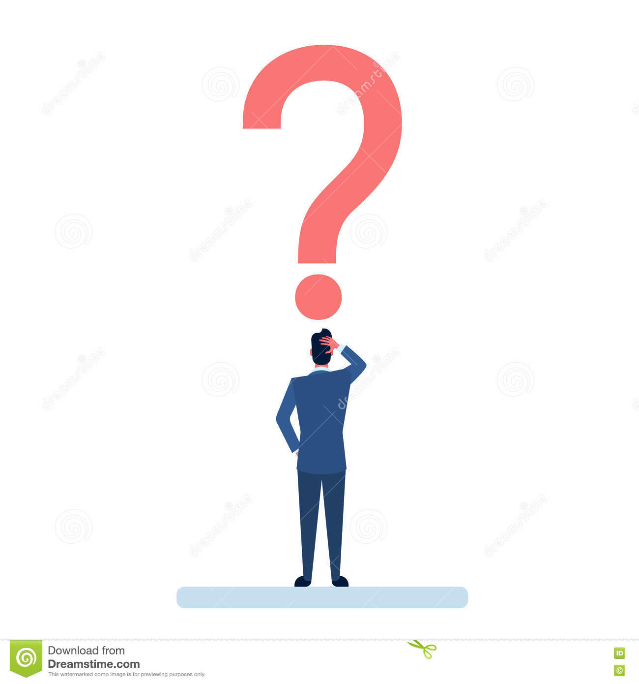 Homme d affaires avec la question Mark Pondering Problem Concept