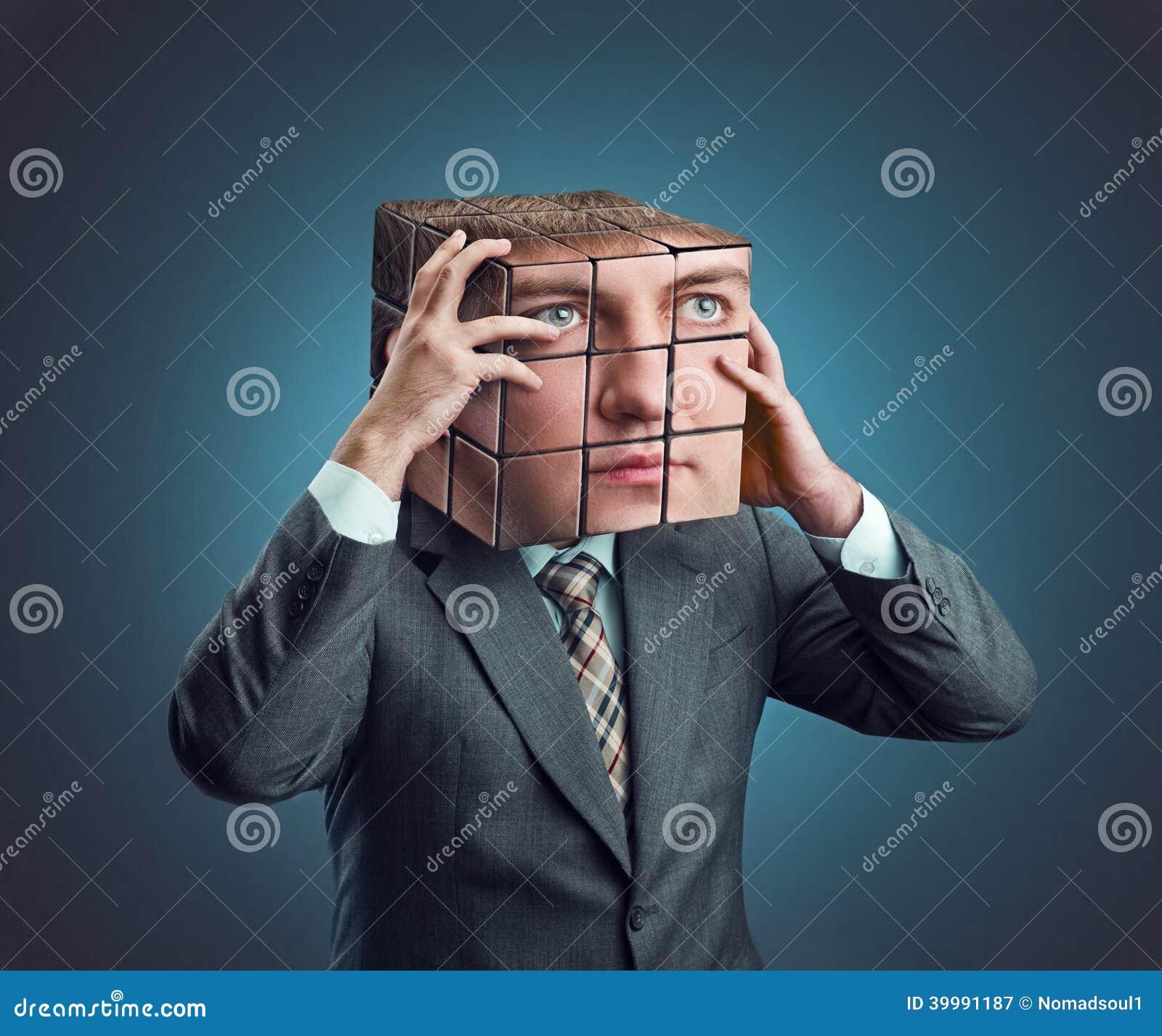 Homme D\'affaires Avec La Tête De Cube En Rubik Image stock - Image ...