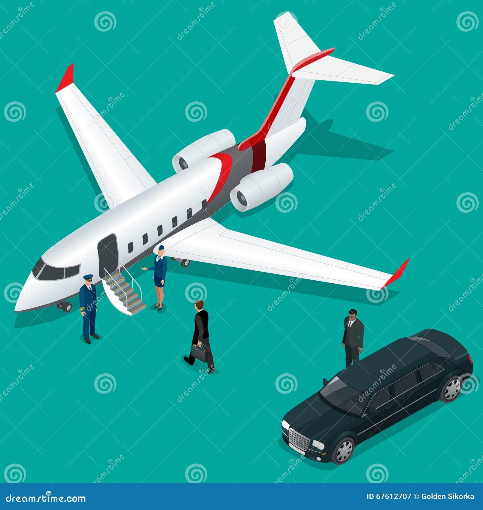 Homme d affaires avec le bagage marchant vers le jet privé sur le terminal Hôtesse de concept d affaires, pilote, limousine