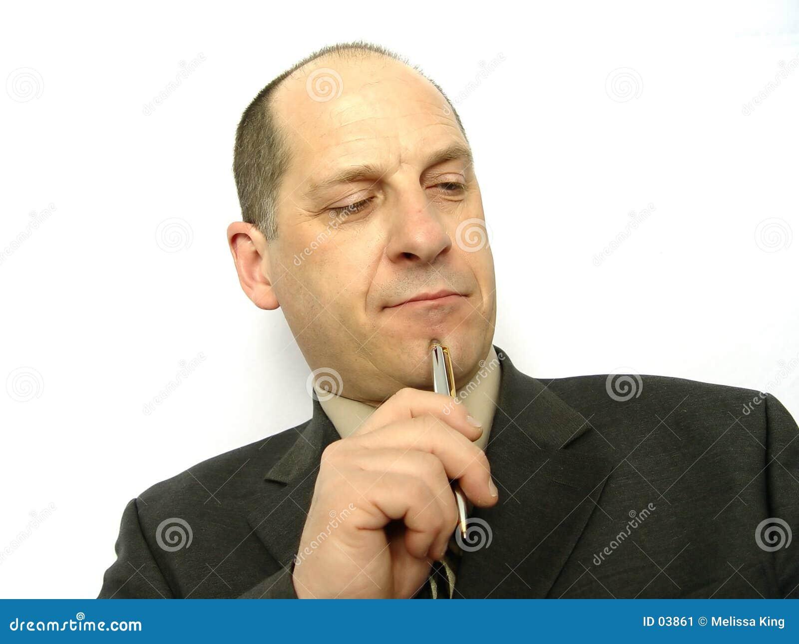 Homme d affaires avec le crayon lecteur