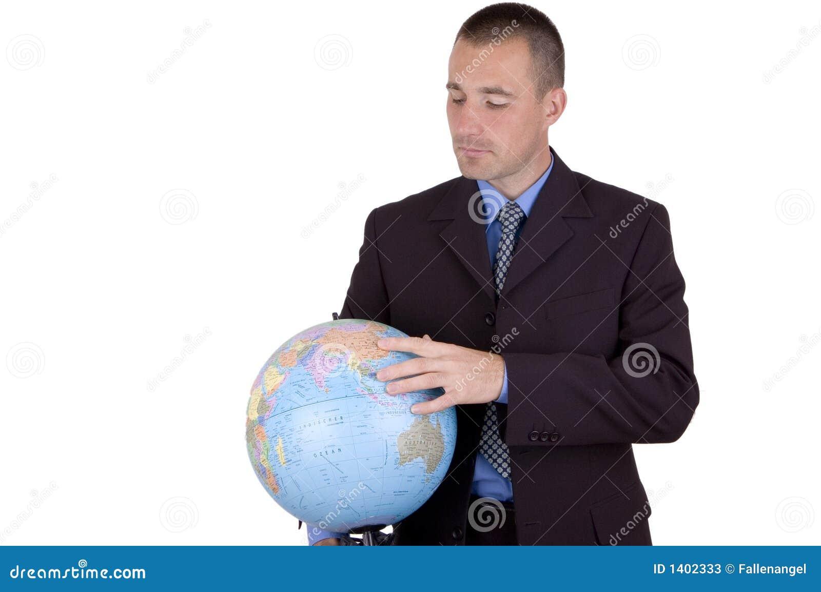 Homme d affaires avec le globe