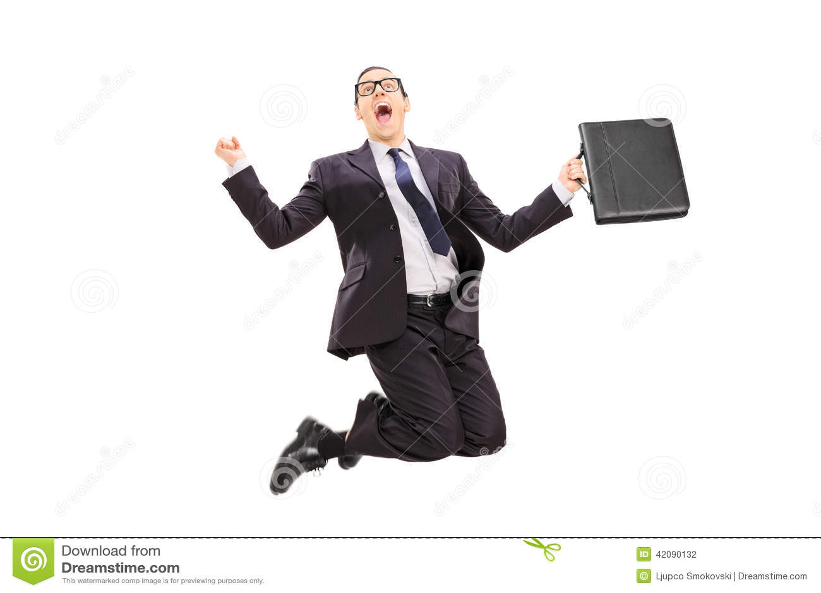 Homme d affaires avec sauter de serviette de la joie