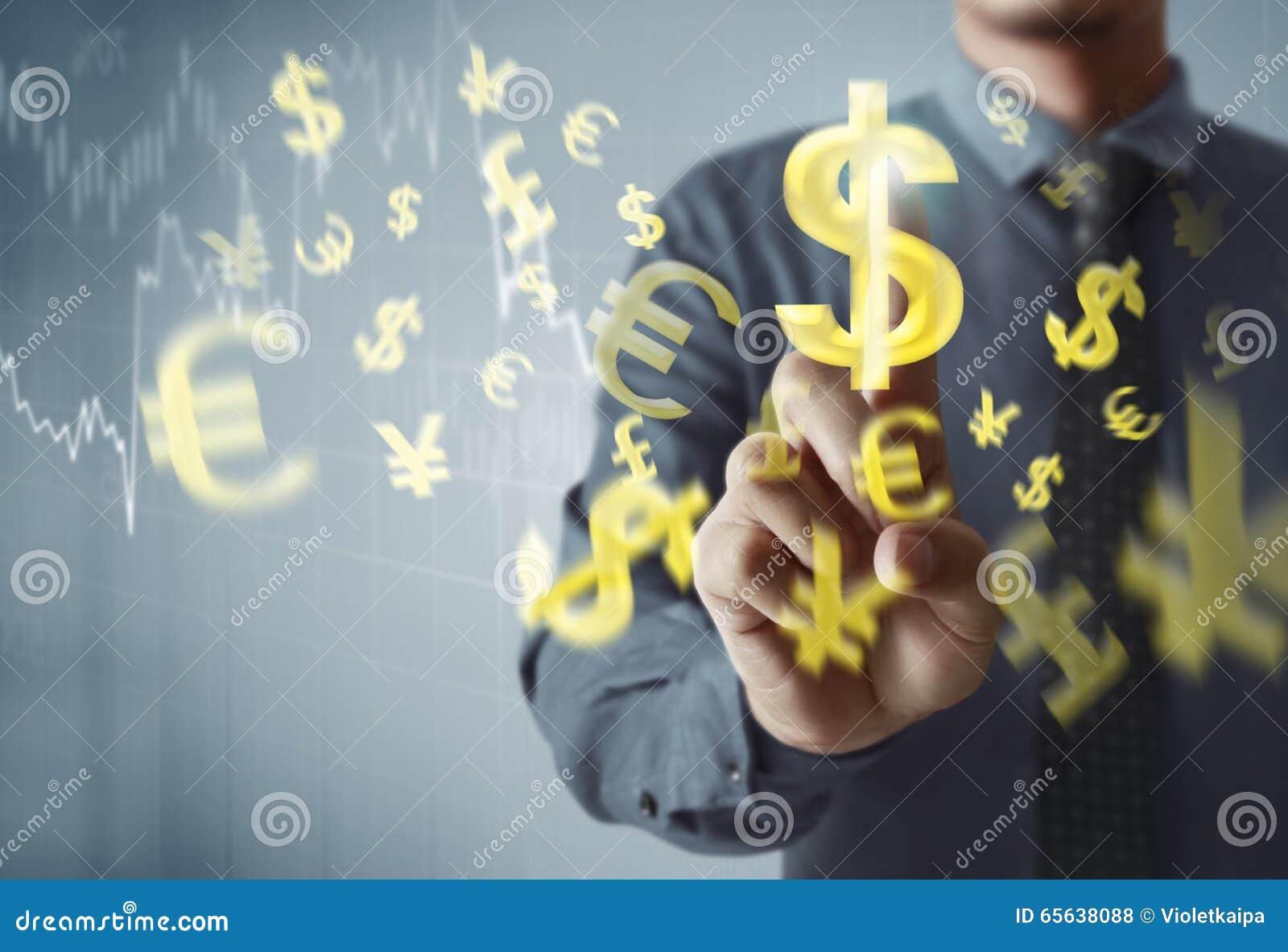 Homme d affaires avec venir financier de symboles