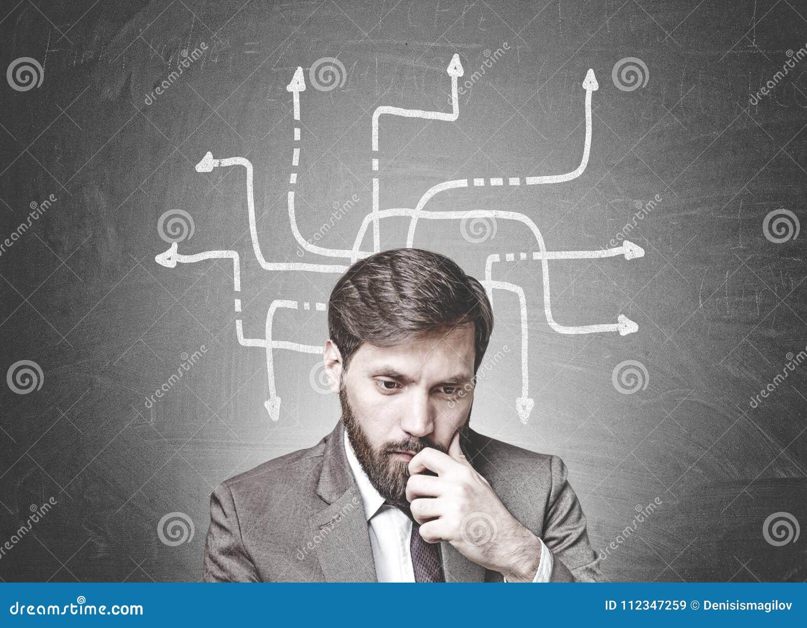 Homme d affaires barbu dans le doute, flèches, choix