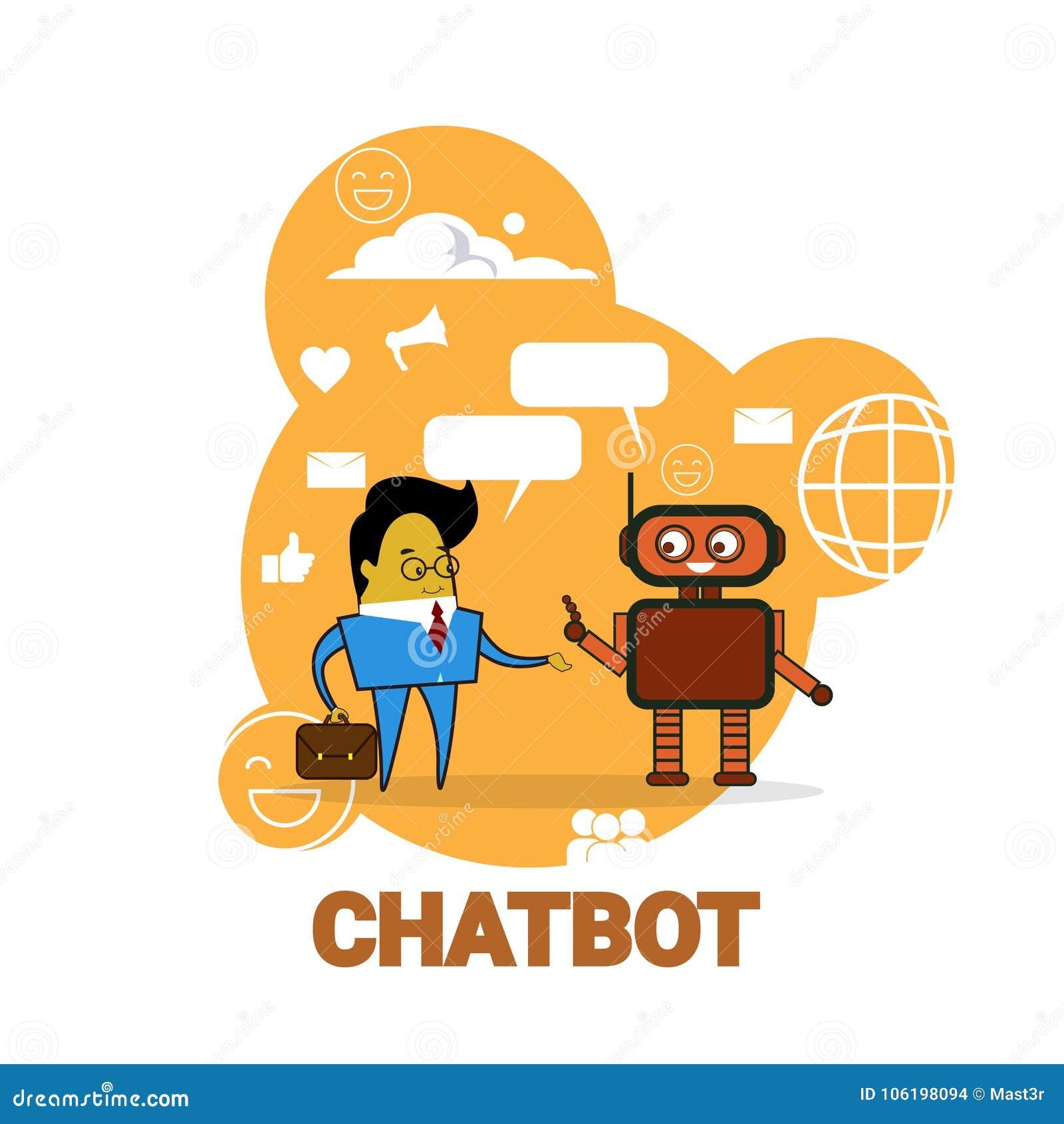 Homme d affaires causant avec le concept moderne de technologie de soutien de robot de Bot de broutement d icône de Chatbot