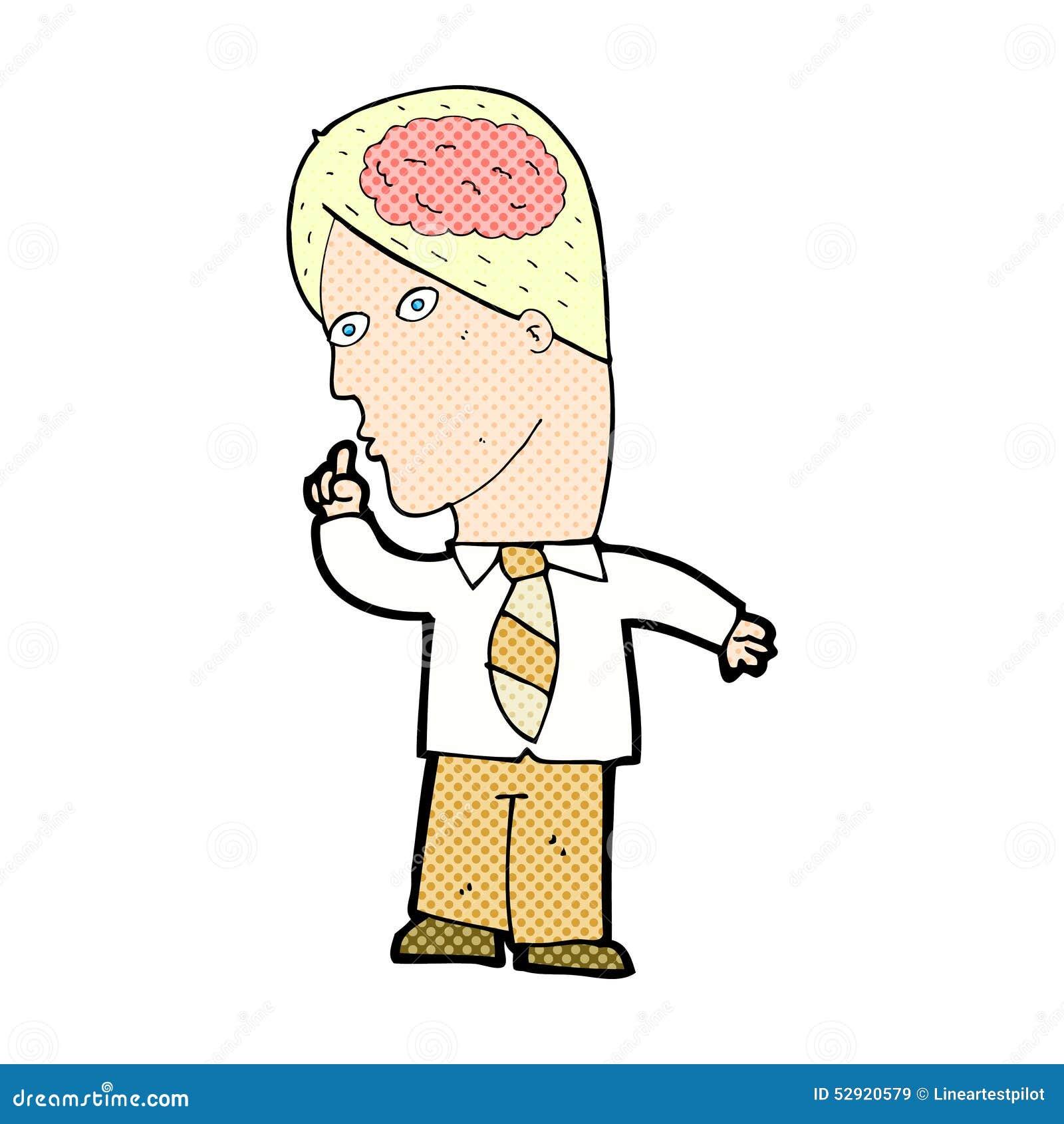 Homme d affaires comique de bande dessinée avec le cerveau énorme