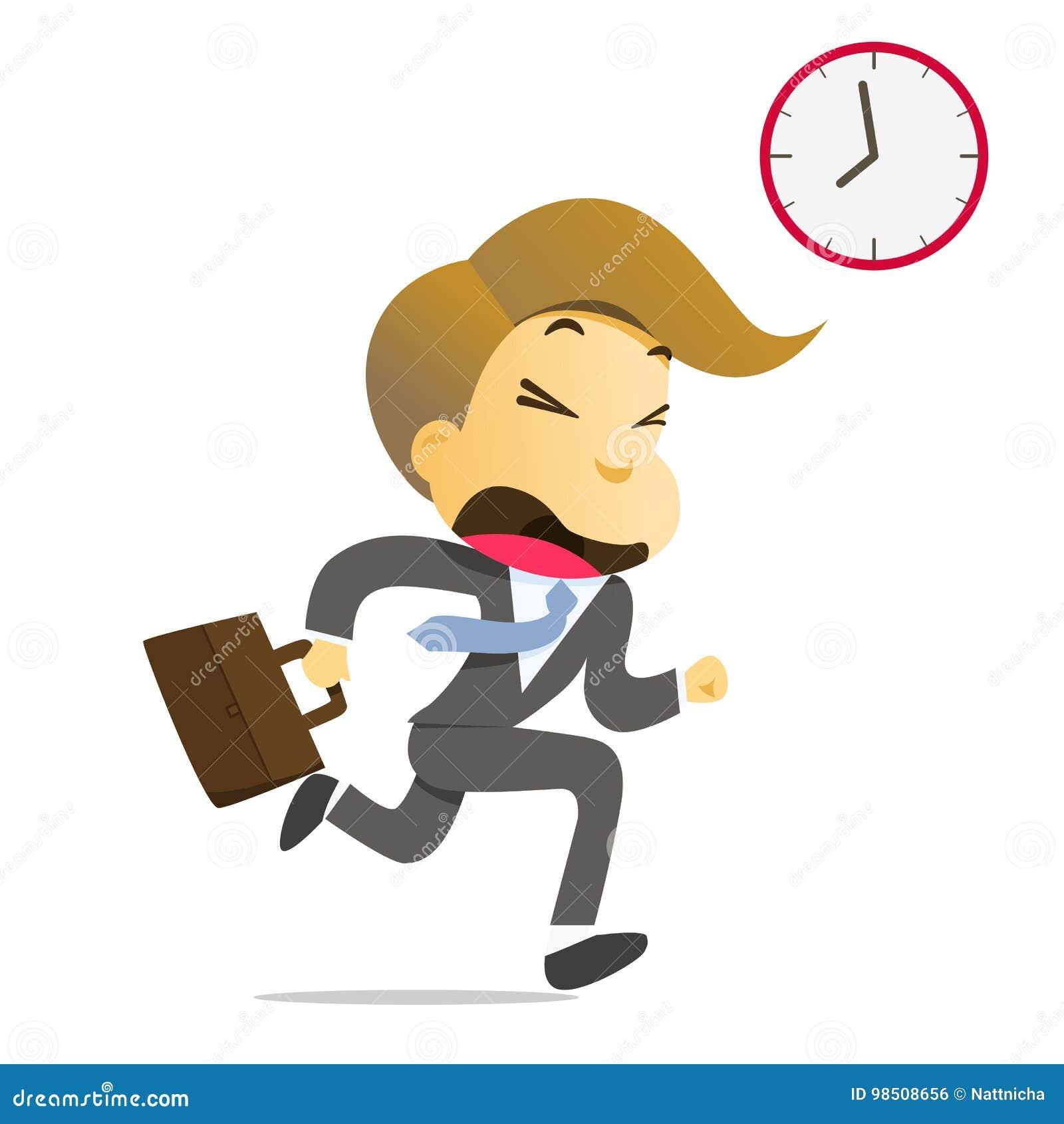 Homme d affaires courant avec la serviette tard pour travailler