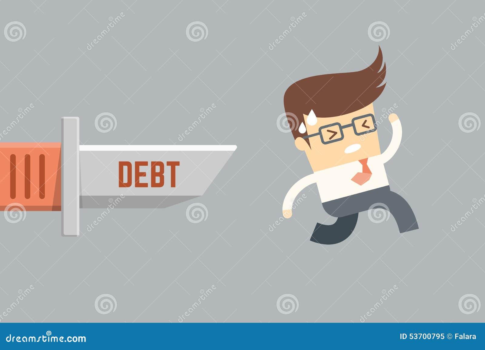 Homme d affaires courant de la dette,