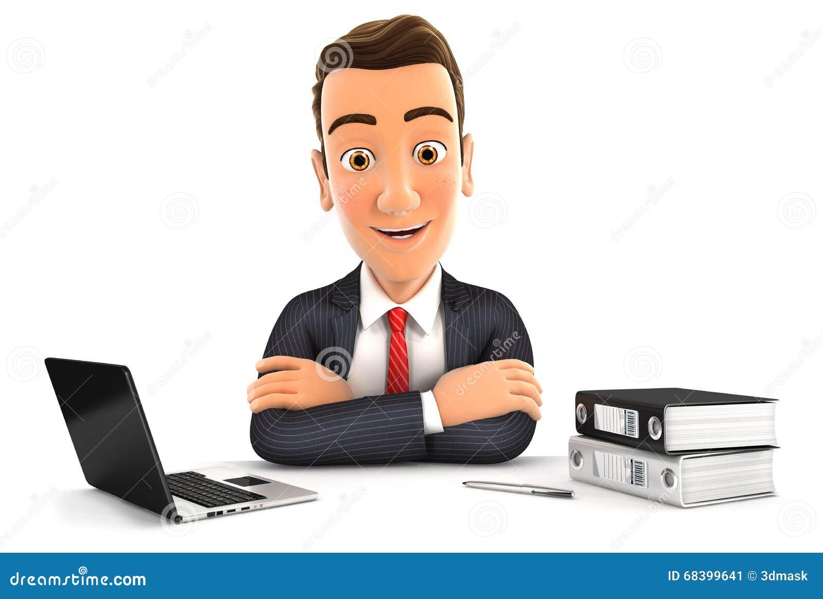 Homme d affaires 3d s asseyant au bureau