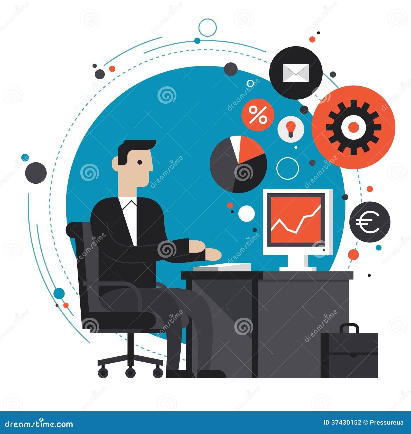 Homme d affaires dans l illustration plate de bureau