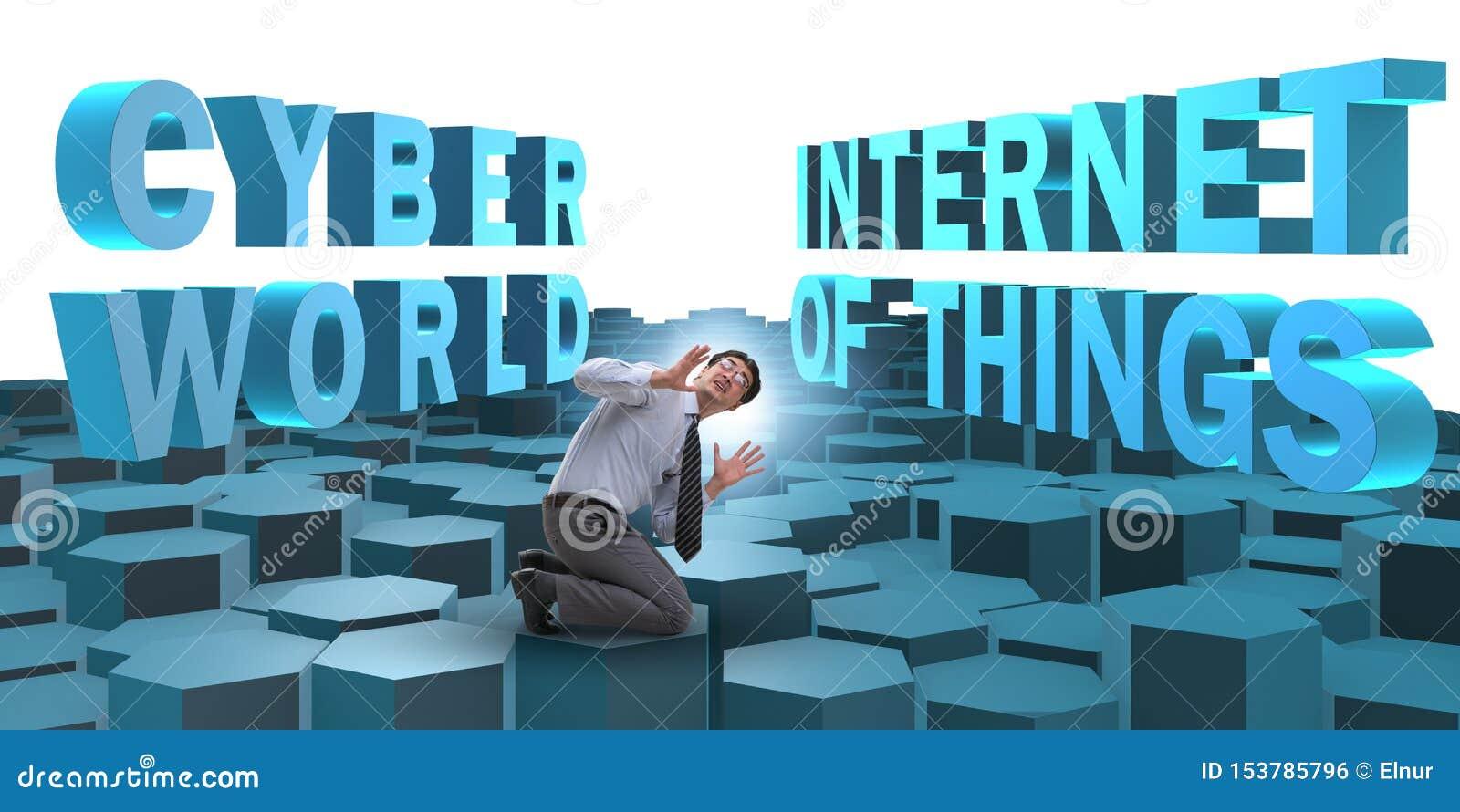 Homme d affaires dans l Internet du concept de choses