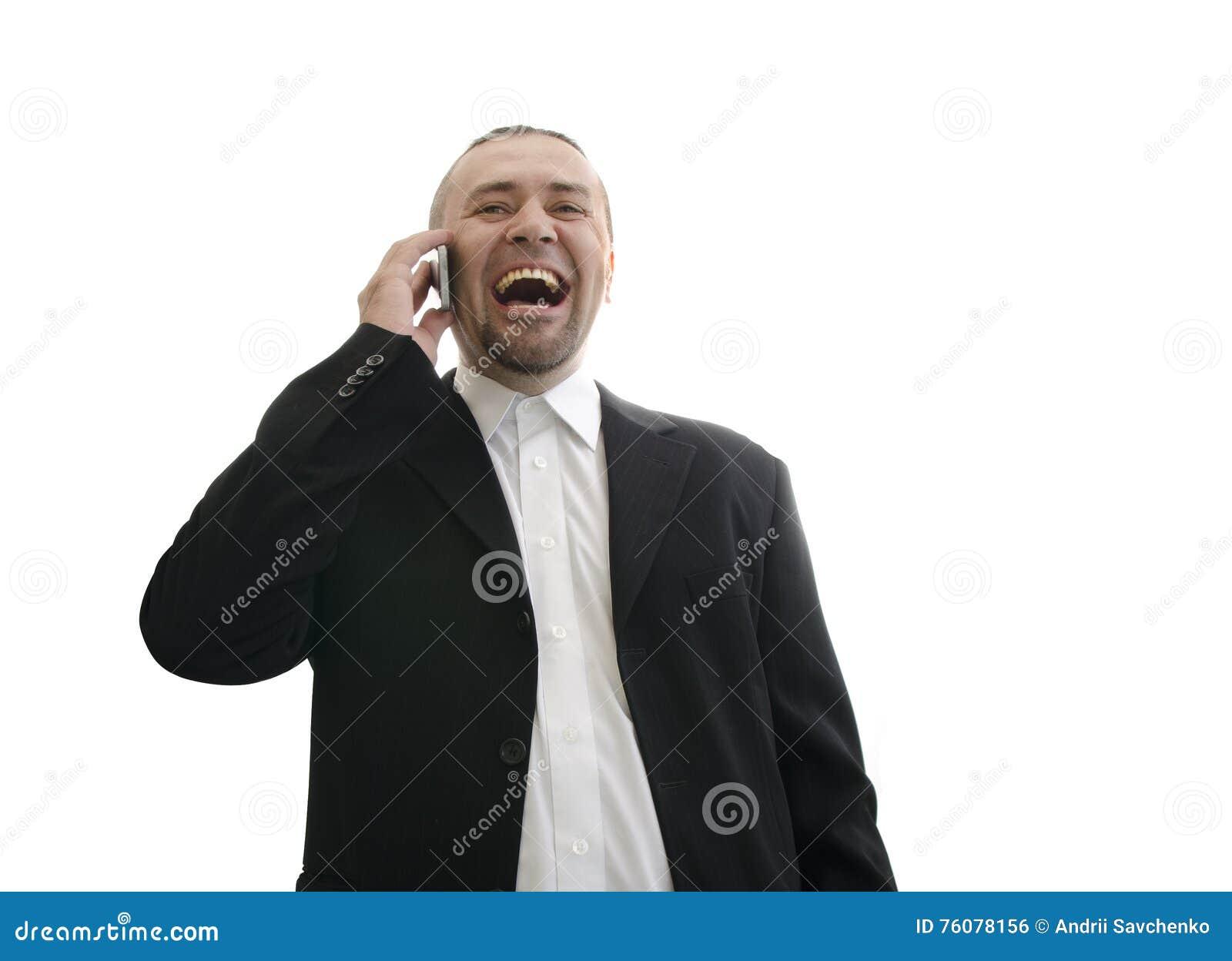 Homme d affaires dans la veste riant et parlant au téléphone