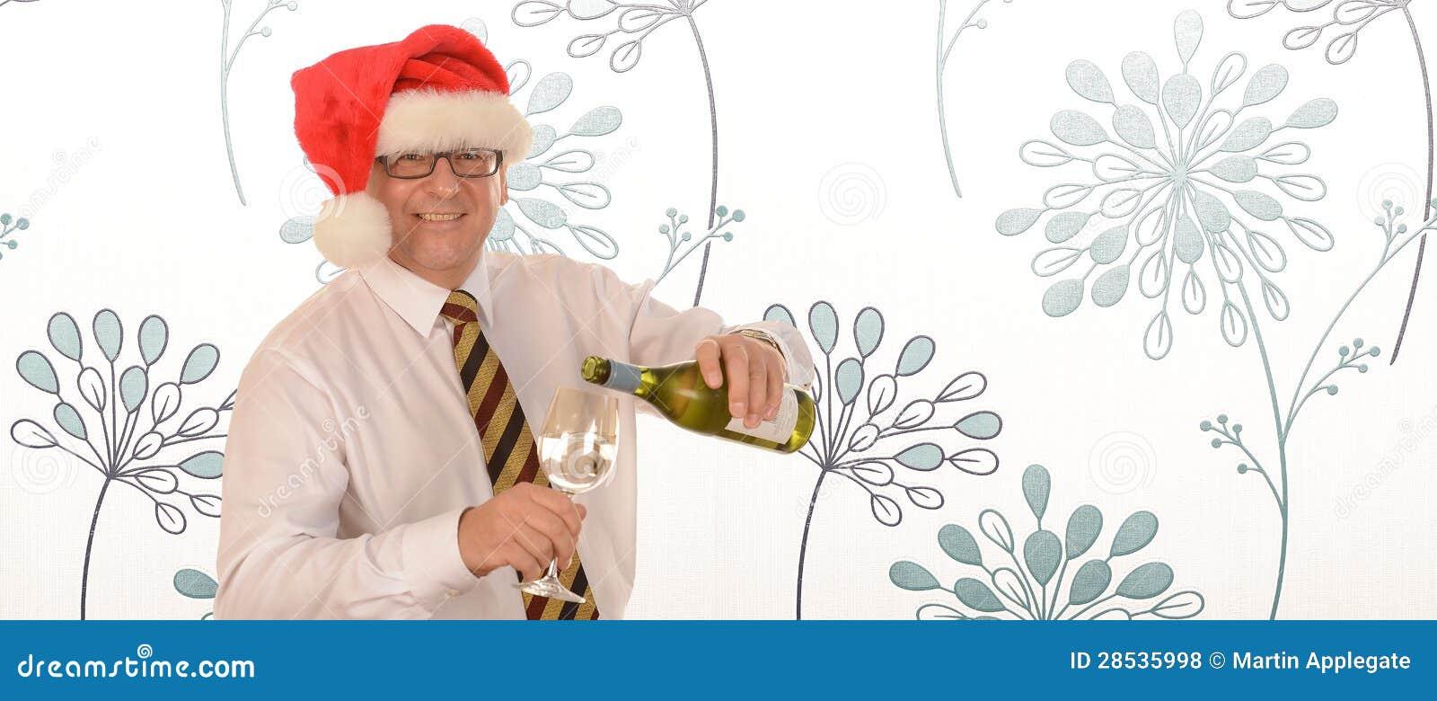 Homme d affaires dans le chapeau de Santa