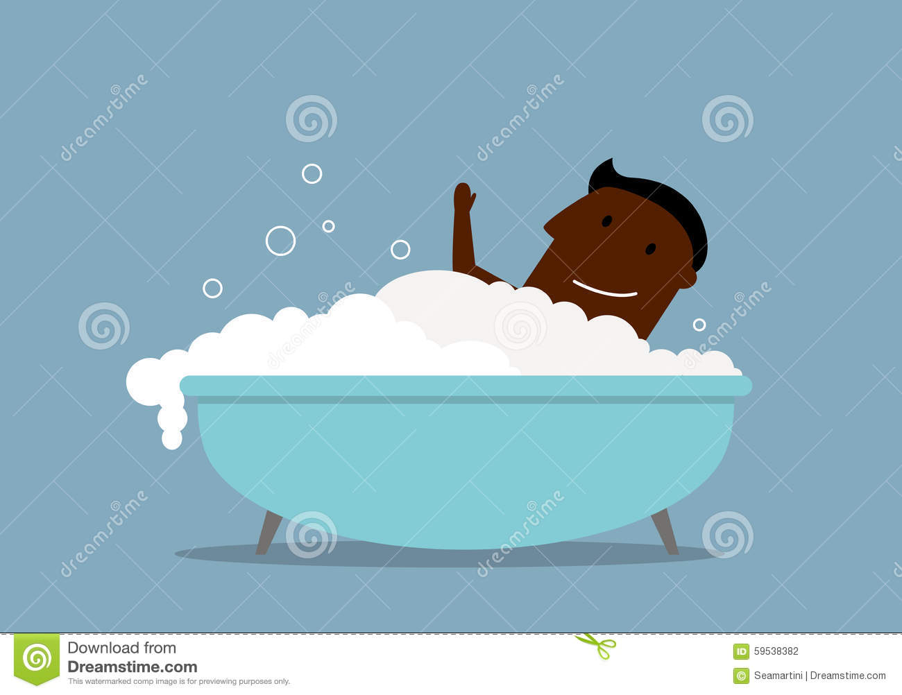 Homme d 39 affaires dans un bain avec la mousse illustration de vecteur image 59538382 for Photo dans un bain